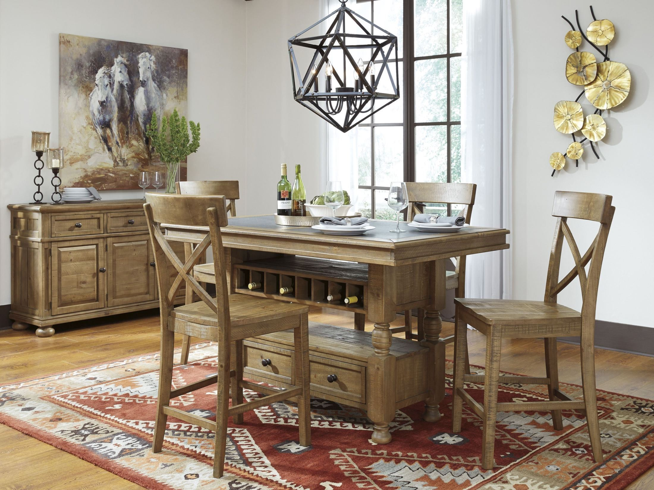 Dining Table Light Height: Trishley Light Brown Rectangular Storage Counter Height