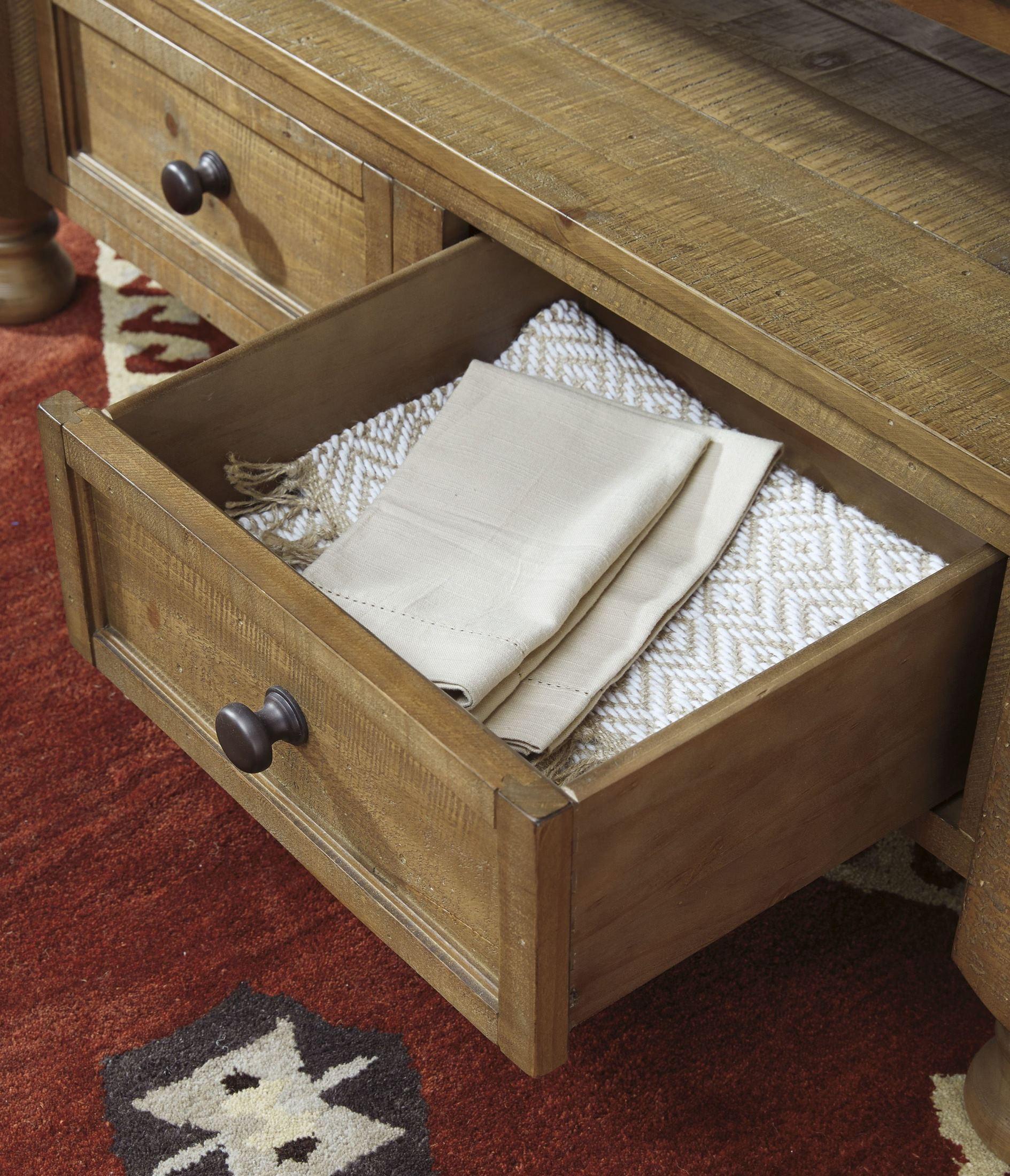 Trishley Light Brown Rectangular Storage Counter Height
