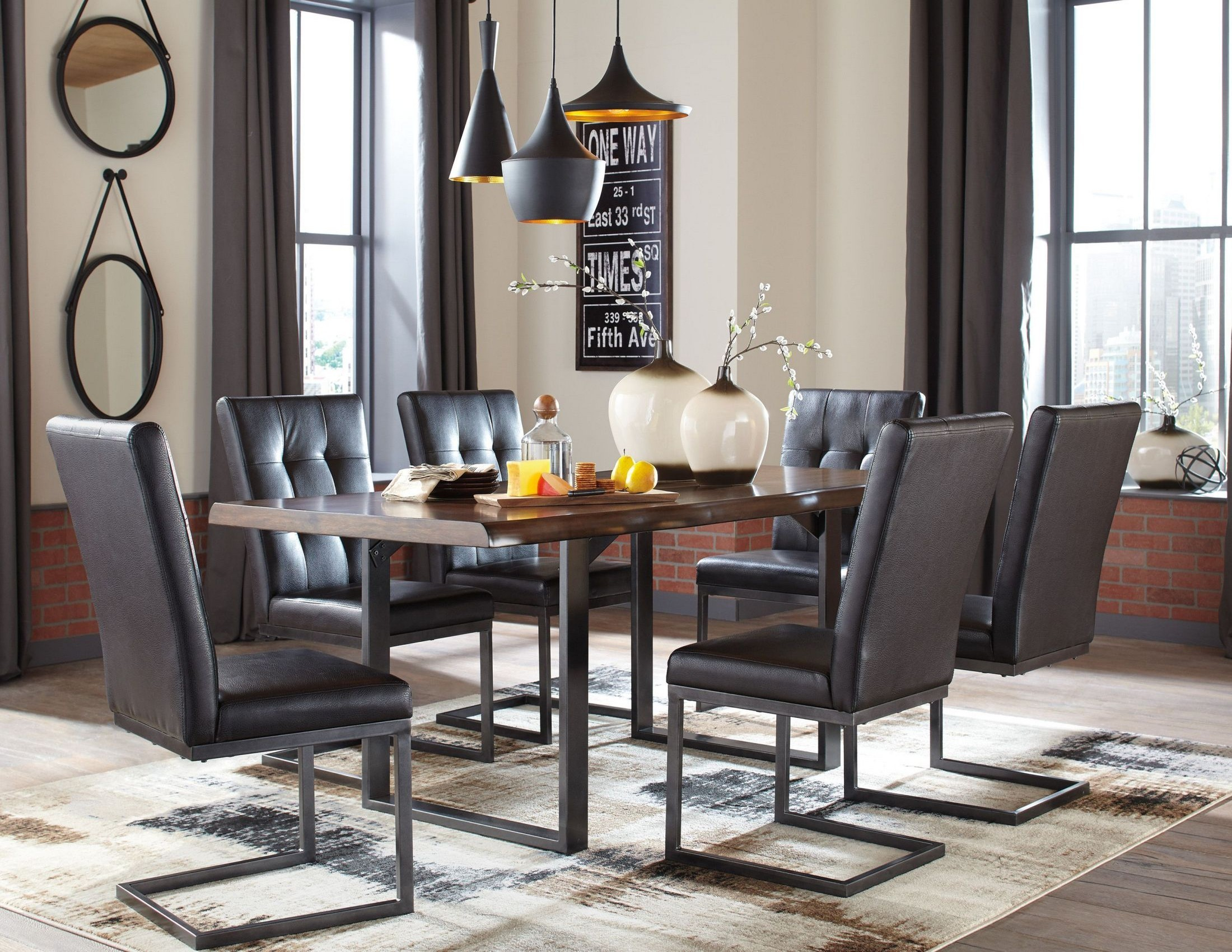 Esmarina dark brown rectangular dining room set from for Brown dining room set