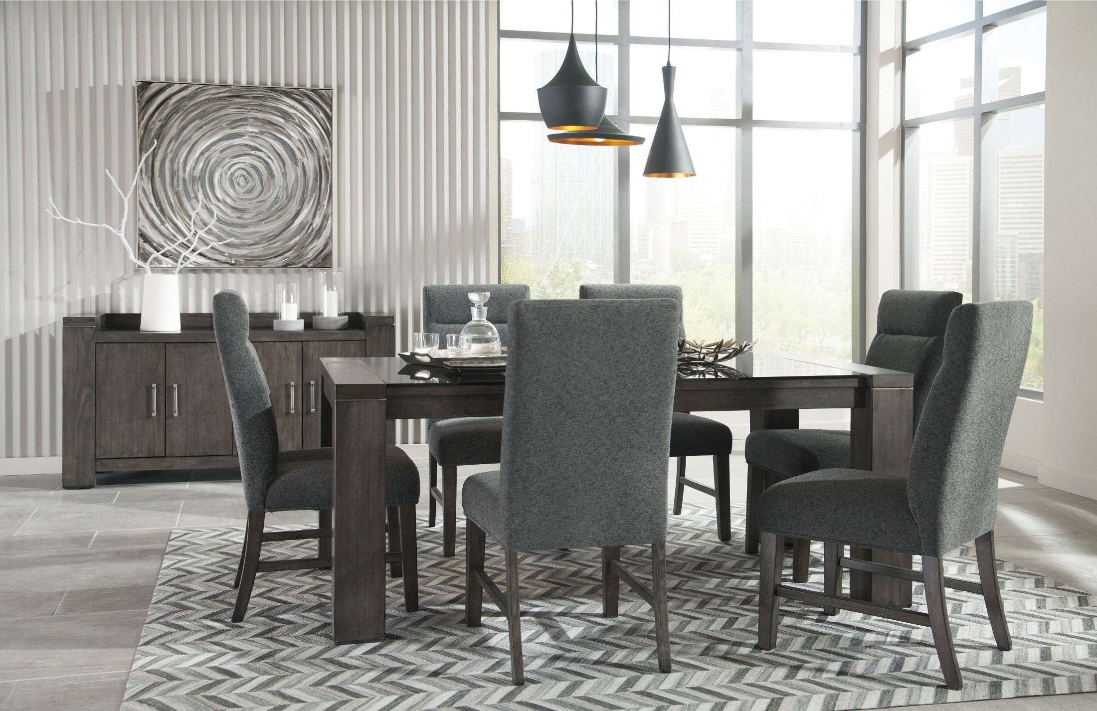 Chansey dark gray rectangular dining room set from ashley for Dark grey dining room