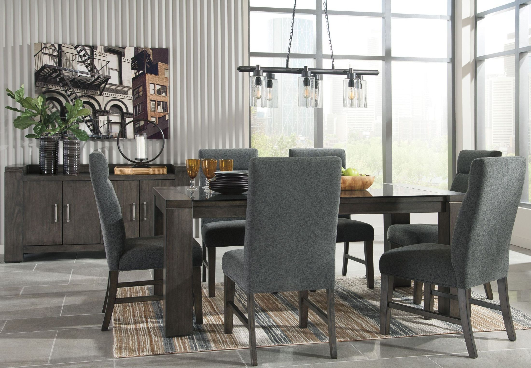 chansey dark gray dining room server from ashley coleman furniture