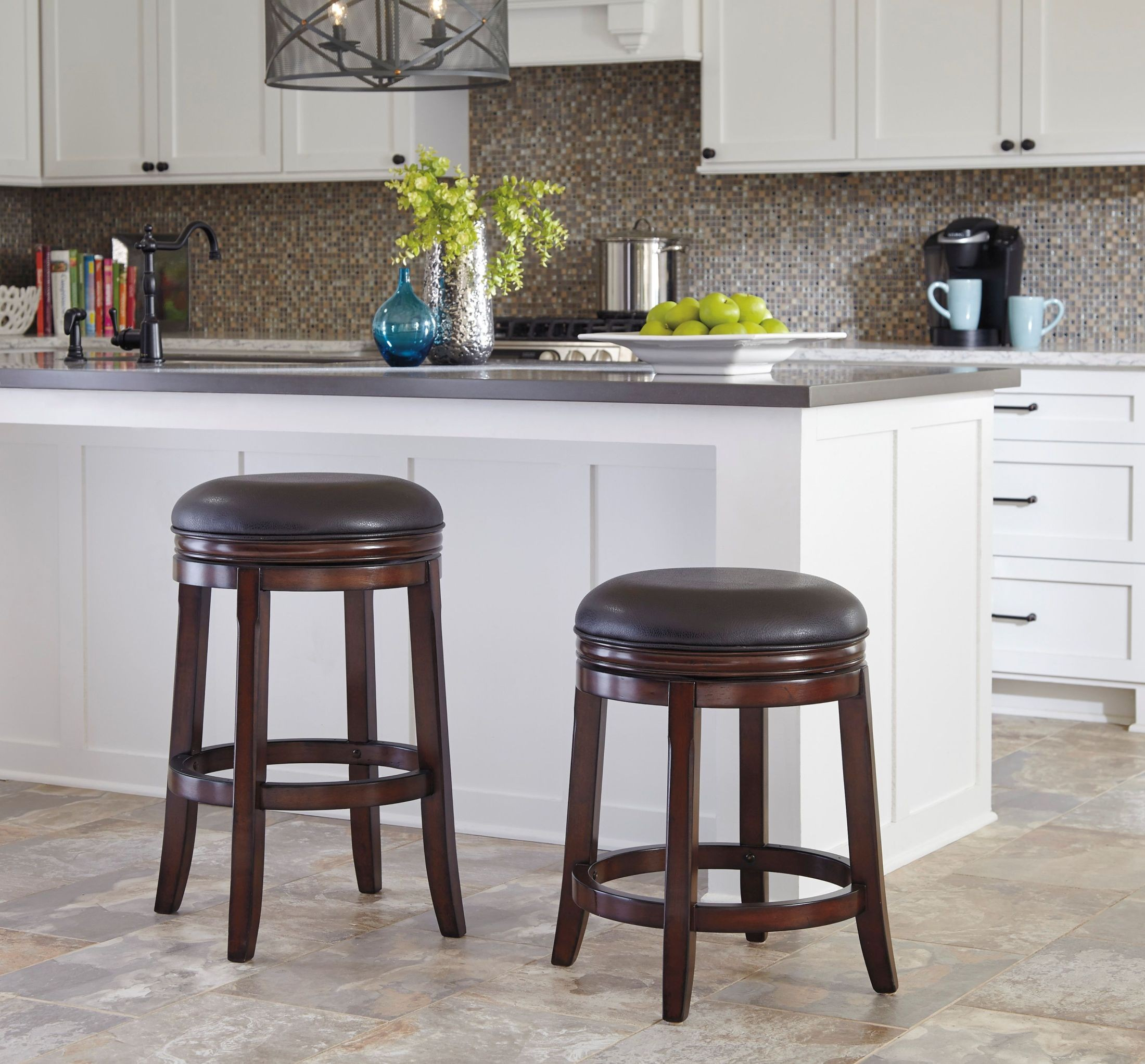 Porter Rustic Brown Upholstered Swivel Stool Set Of 2 From