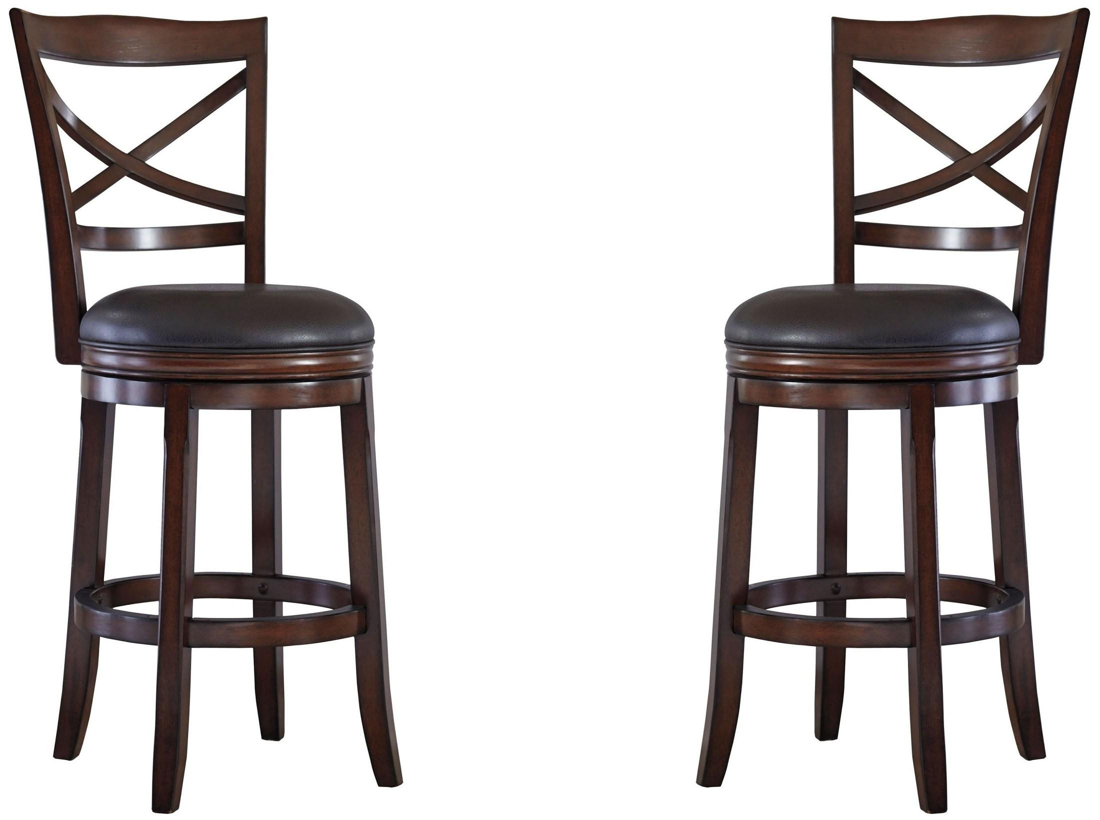 Porter Rustic Brown Tall Upholstered Swivel Barstool Set
