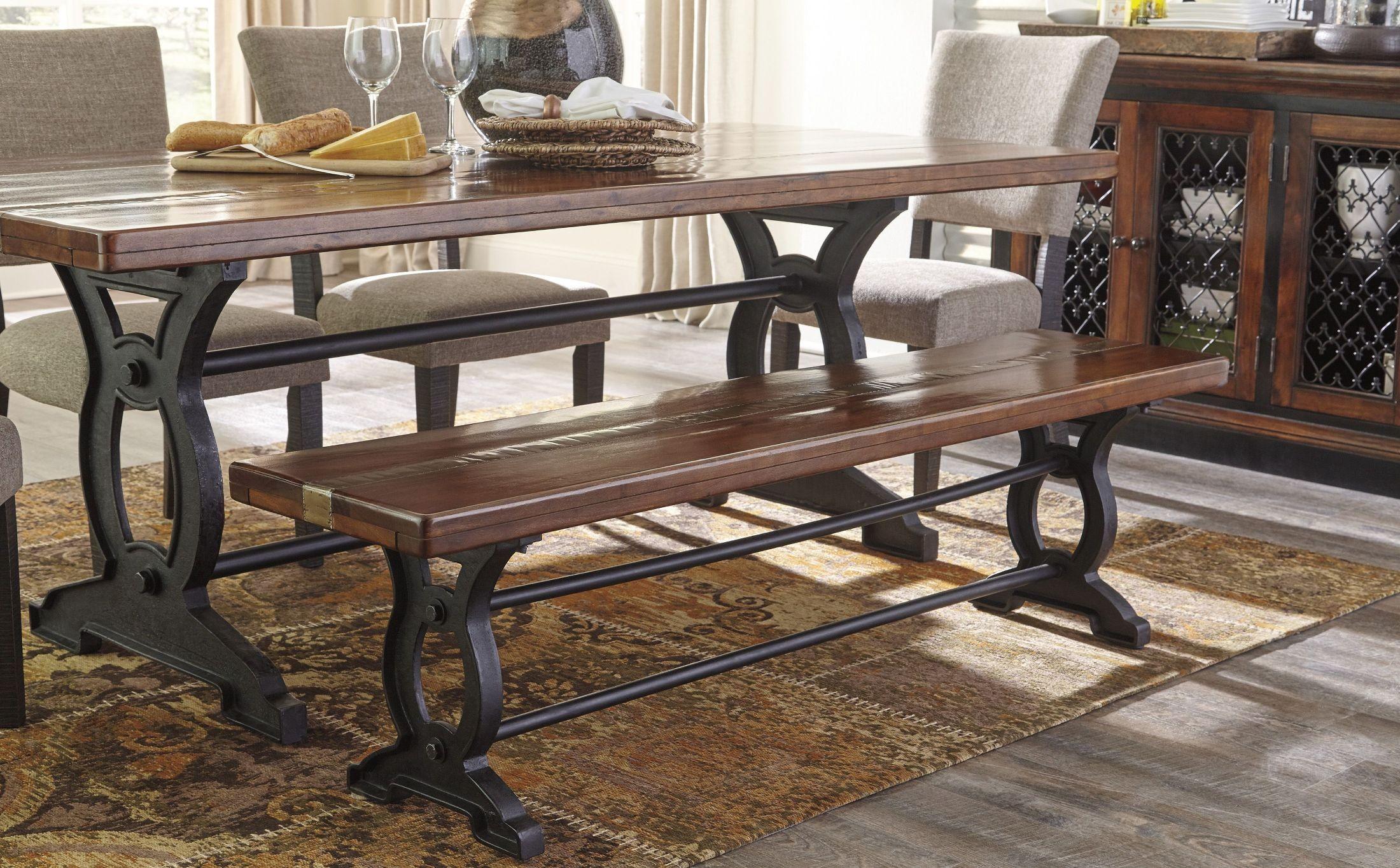 zurani brown and black rectangular dining table from ashley coleman furniture. Black Bedroom Furniture Sets. Home Design Ideas