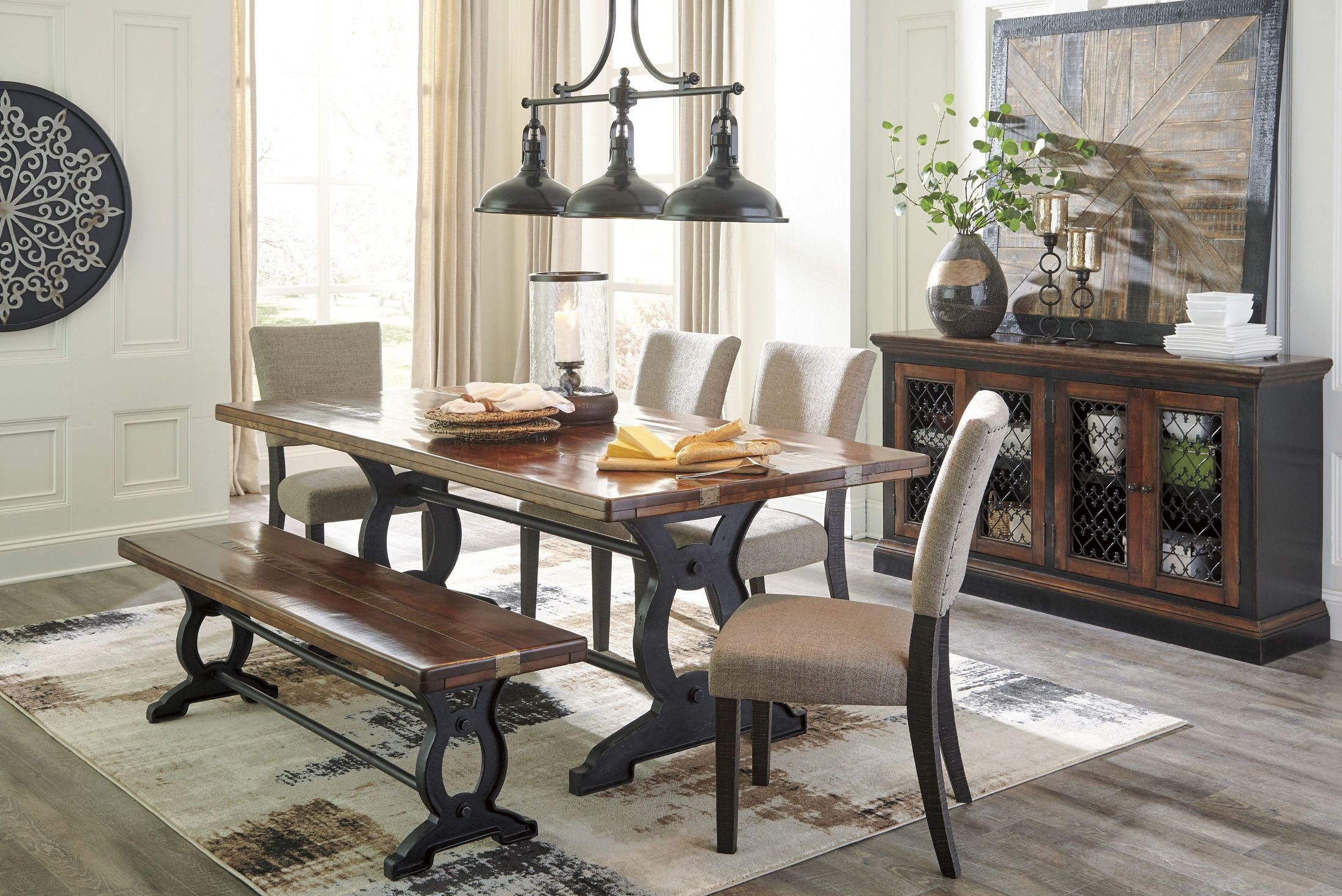 Zurani Brown and Black Rectangular Dining Room Set from Ashley | Coleman Furniture