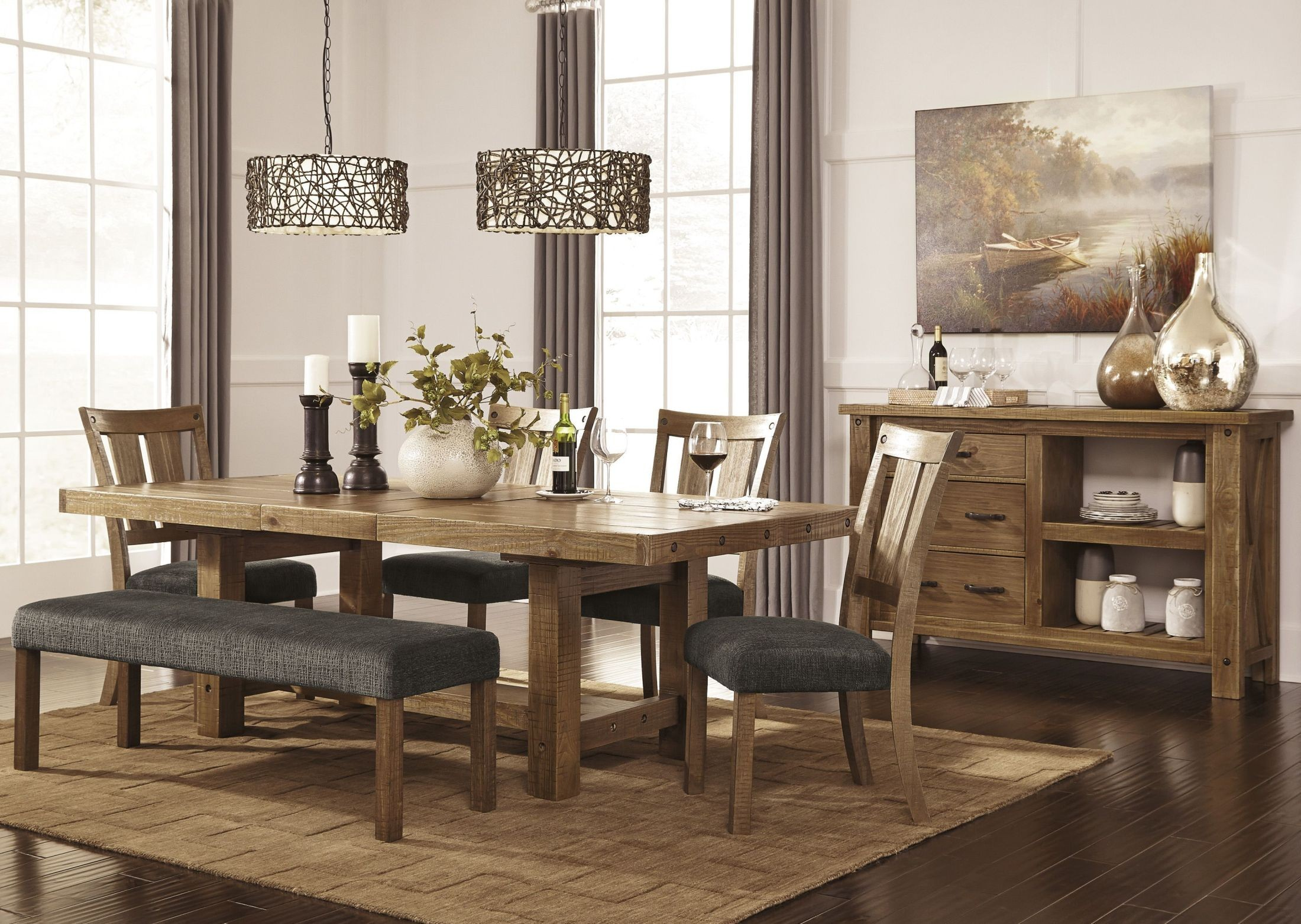 Tamilo Gray Brown Rectangular Extendable Dining Room Set