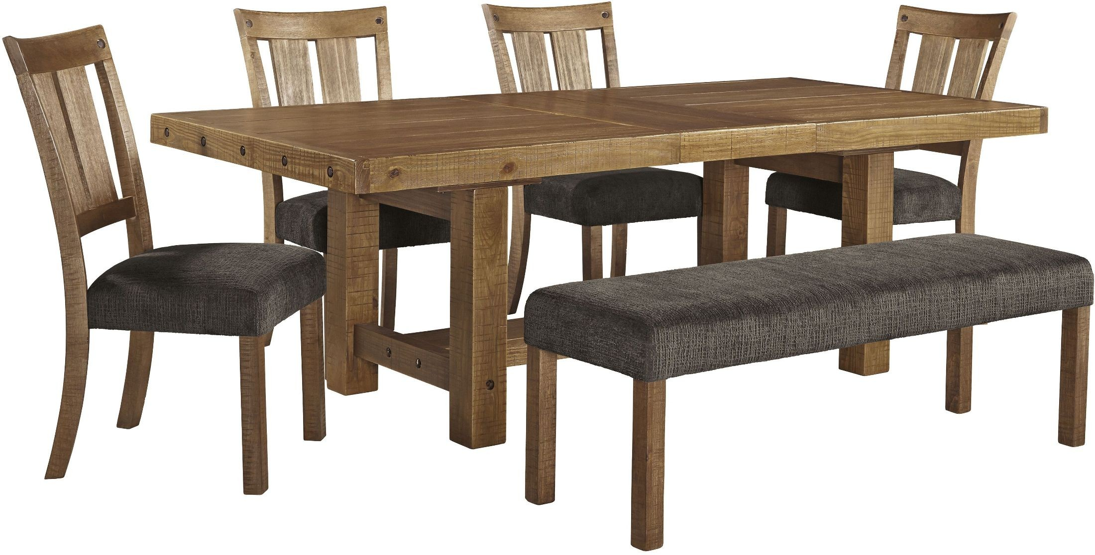 tamilo gray brown rectangular extendable dining room set from ashley d714 45 coleman furniture. Black Bedroom Furniture Sets. Home Design Ideas