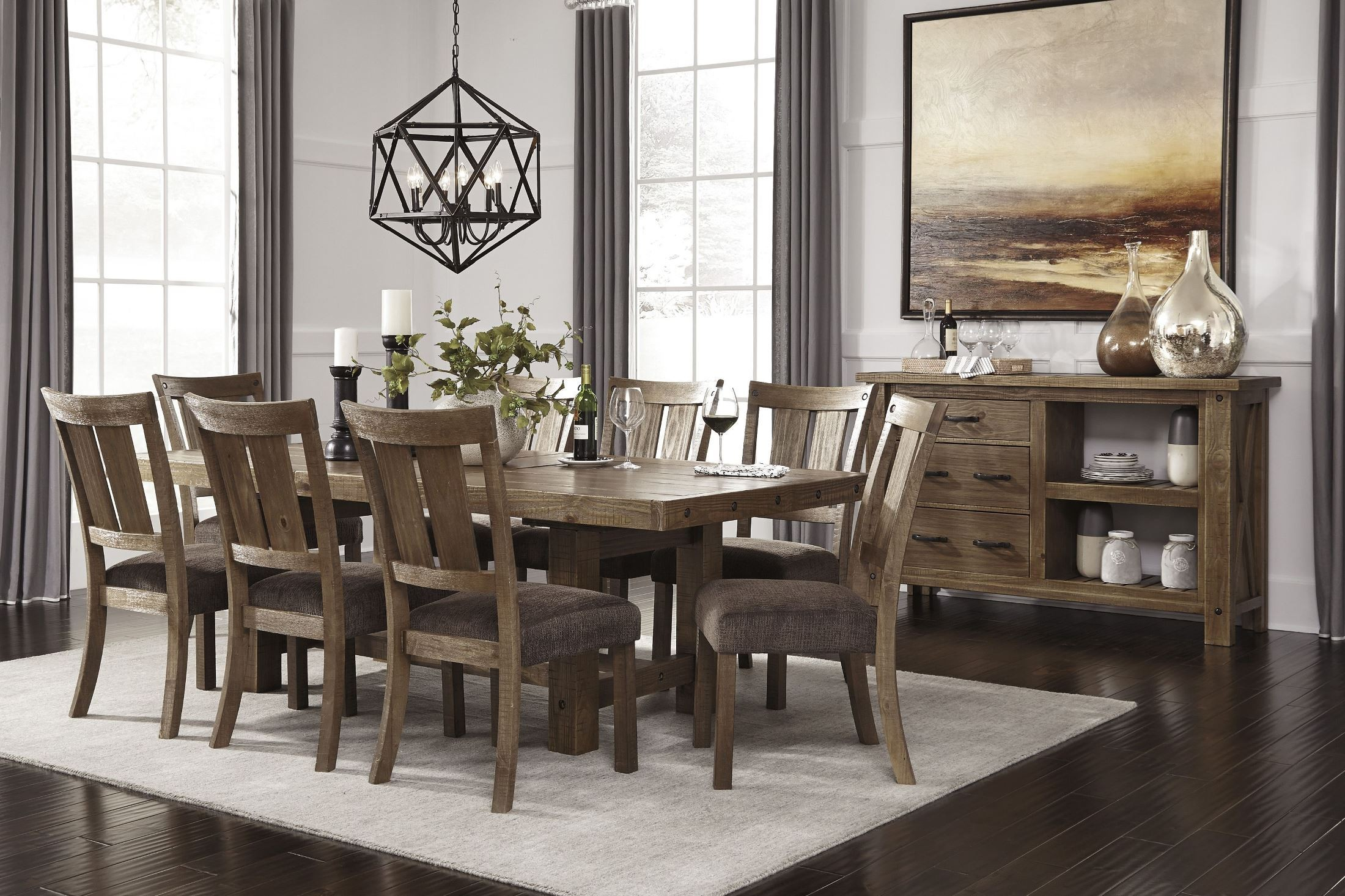 Tamilo Gray/Brown Rectangular Extendable Dining Room Set