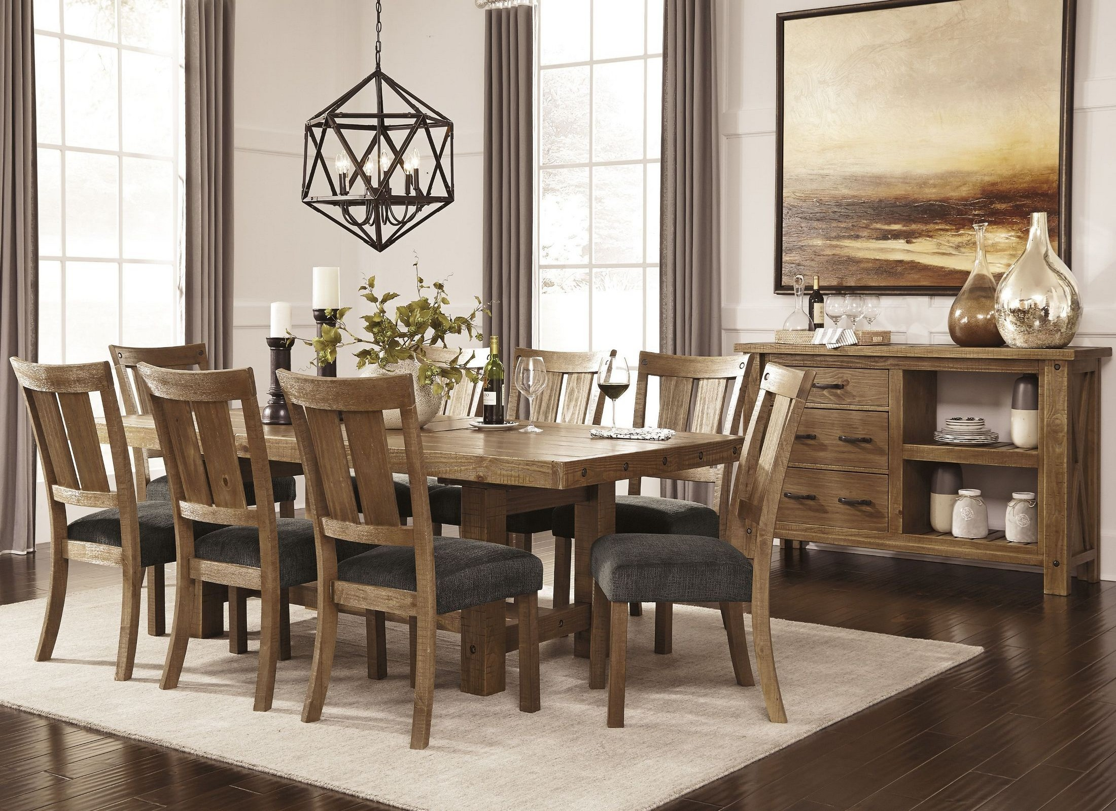 Grey Dining Room Chairs: Tamilo Gray/Brown Rectangular Extendable Dining Room Set