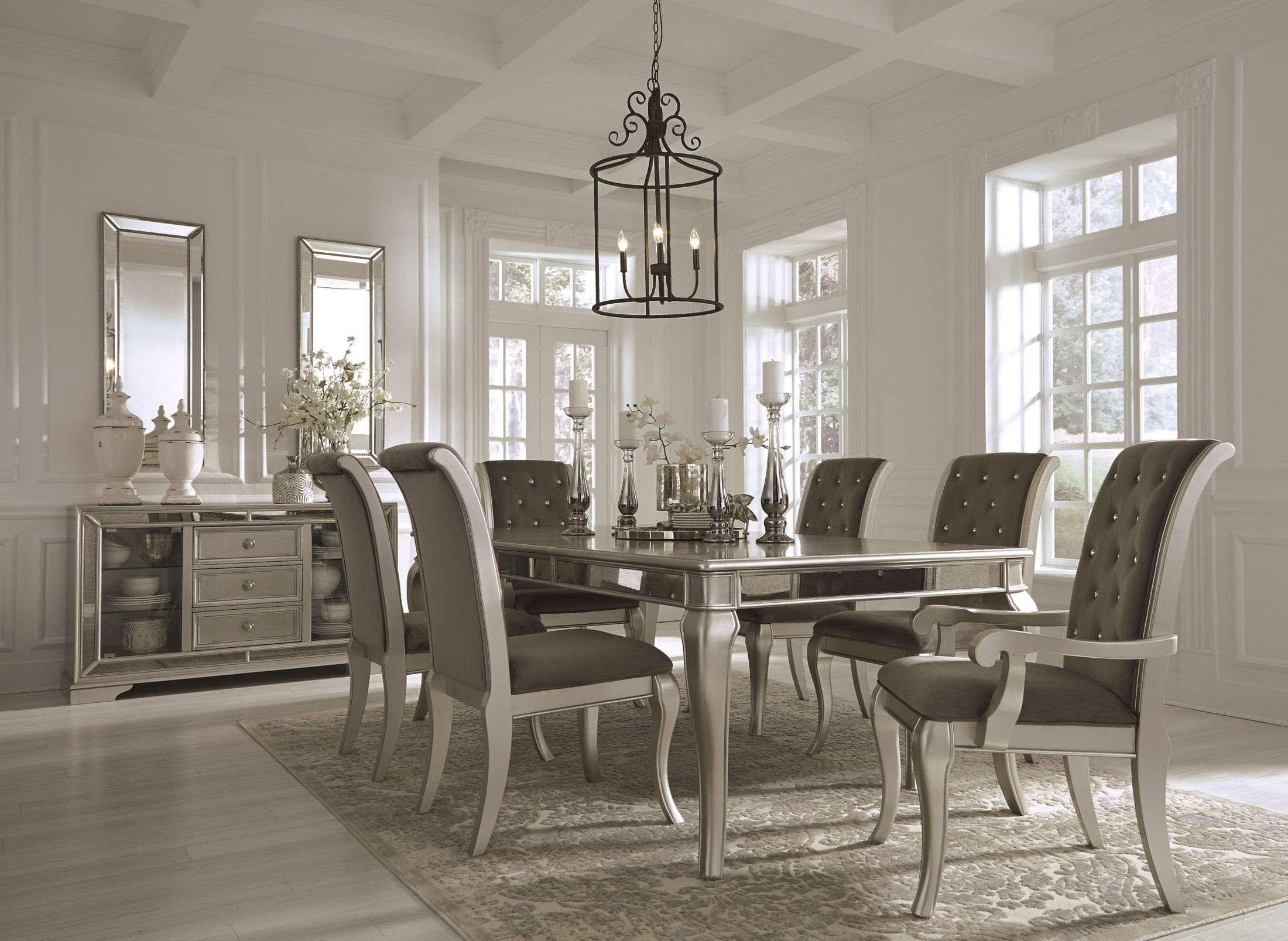 Birlanny Silver Rectangular Extendable Dining Room Set ...
