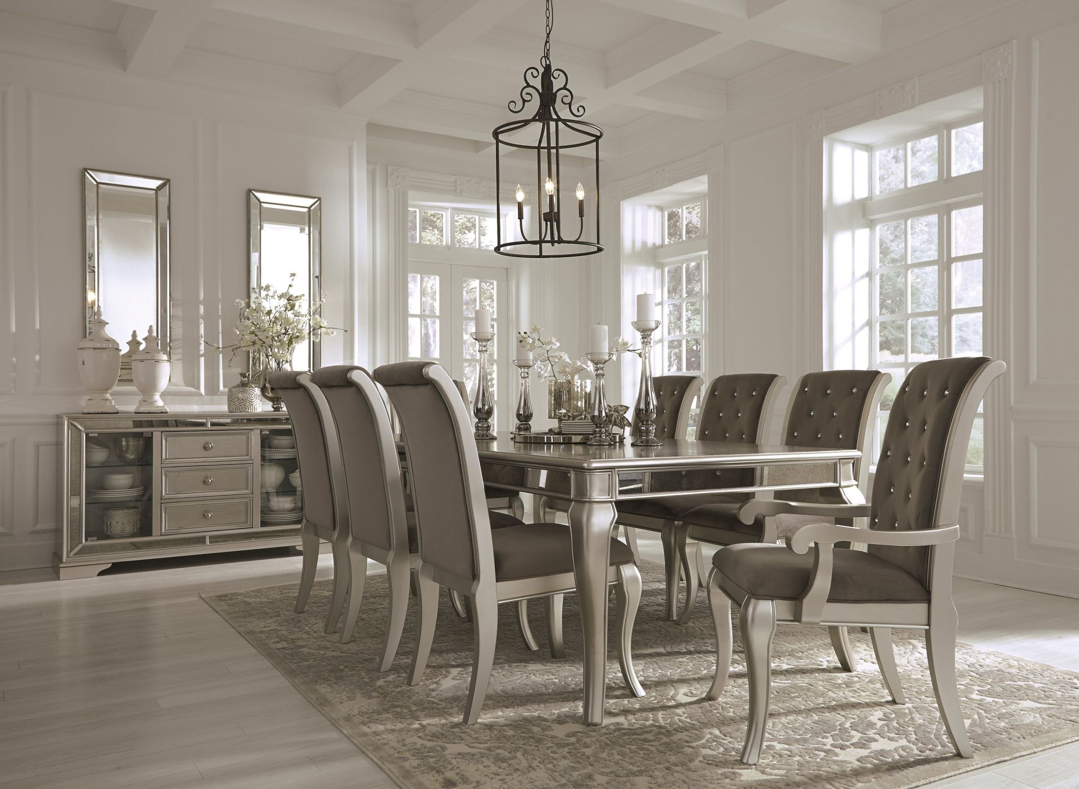 Birlanny silver rectangular extendable dining room set from ashley coleman furniture