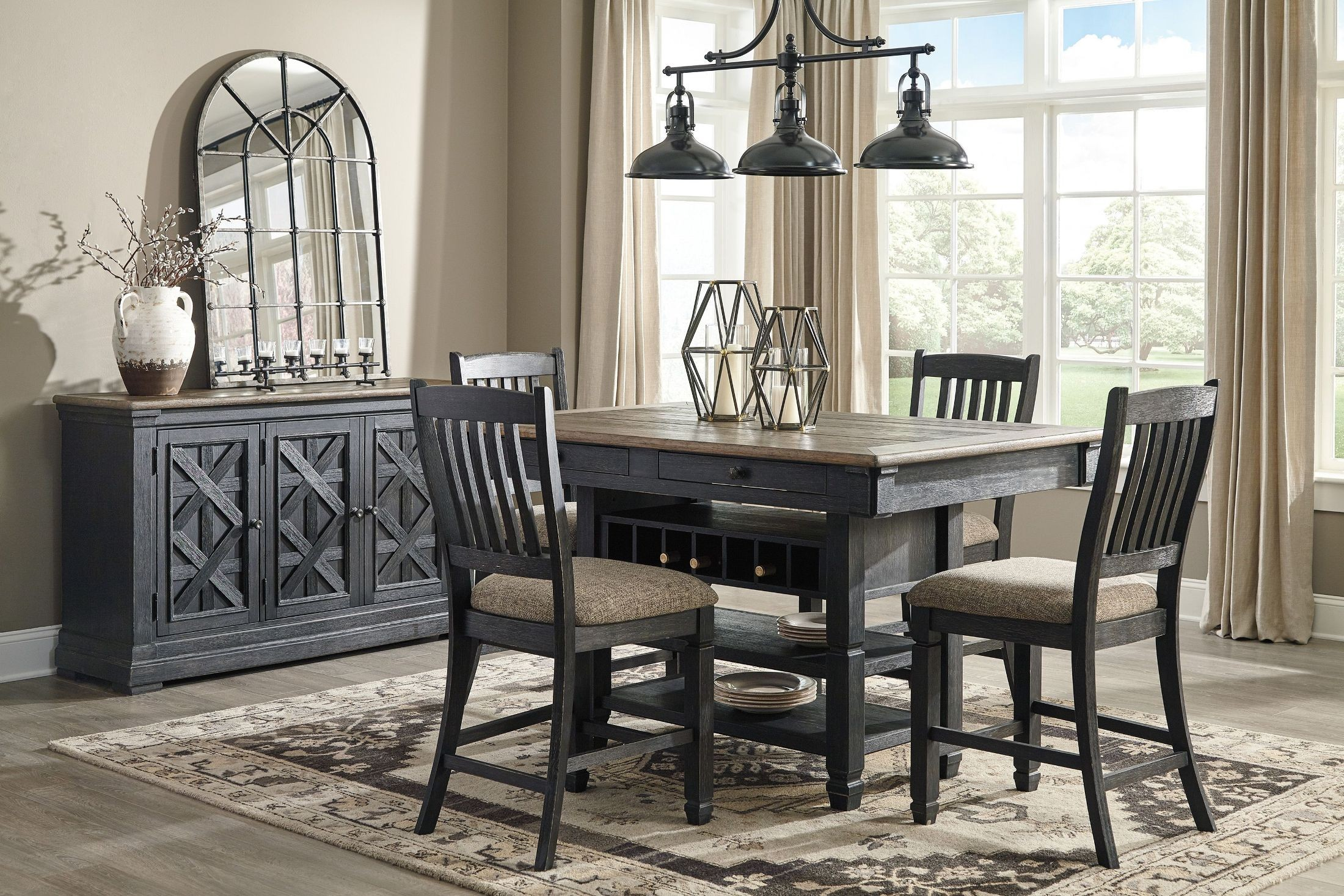 Tyler Creek Black And Gray Rectangular Counter Height Dining Room Set