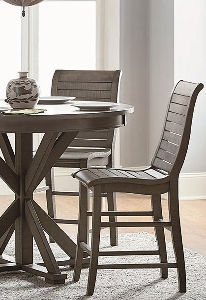 Willow Distressed Dark Gray Counter Chair Set Of 2 From