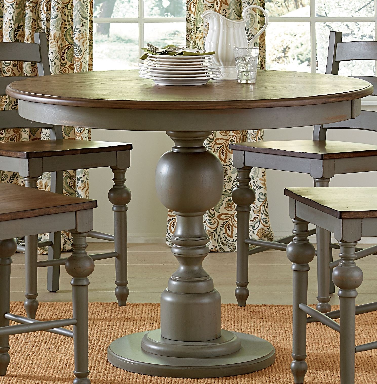 colonnades putty and oak round counter height dining table from progressive furniture coleman. Black Bedroom Furniture Sets. Home Design Ideas