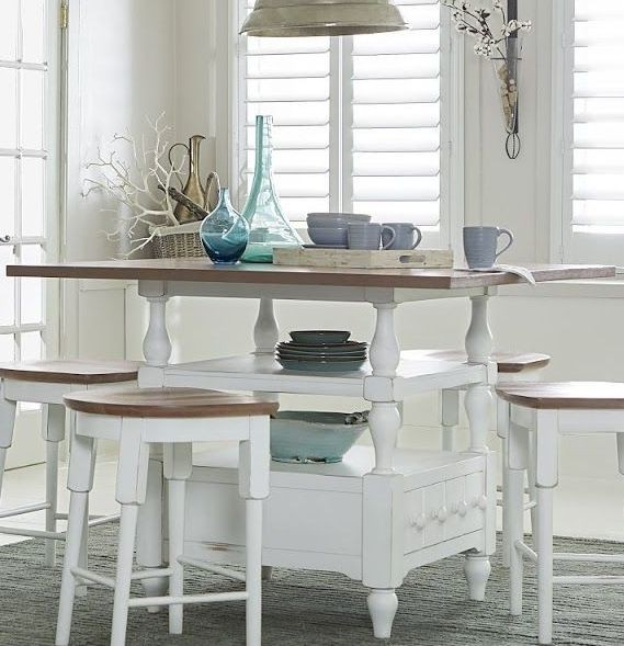 Shutters Light Oak And Distressed White Counter Height