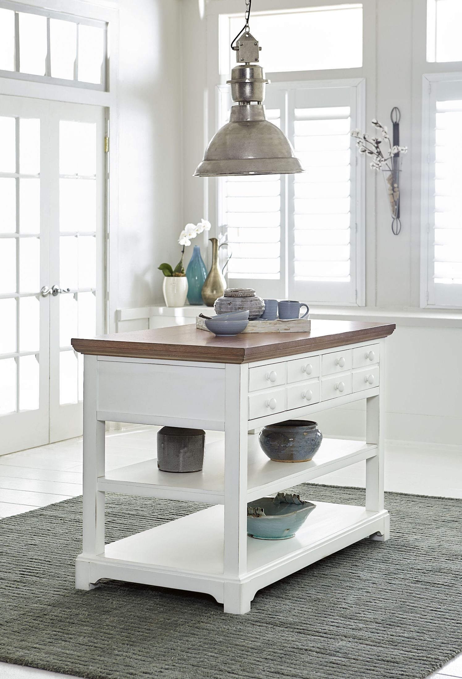 Shutters Light Oak and Distressed White Kitchen Island Set from ...