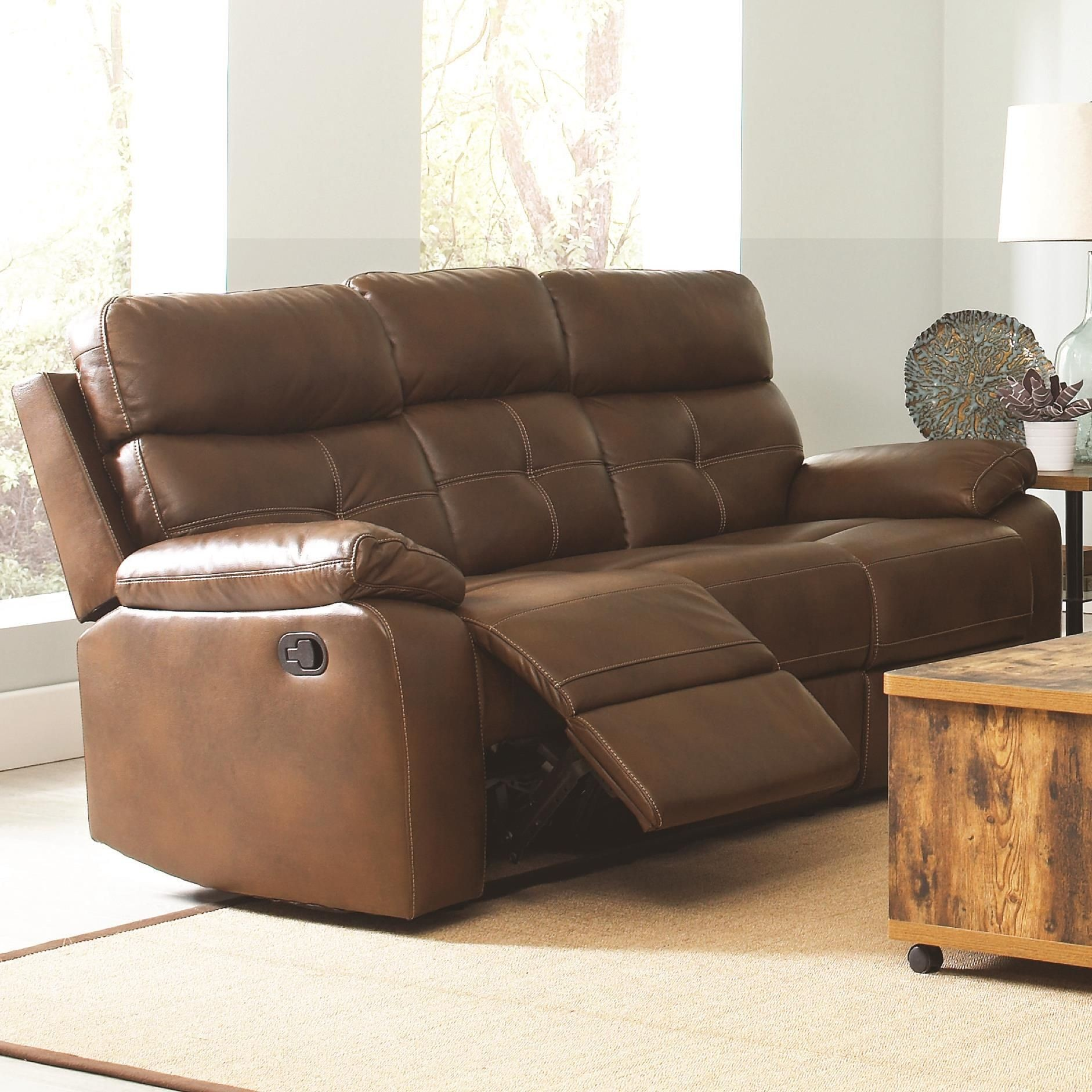 Leather Sofa Price: Damiano Faux Leather Reclining Sofa From Coaster (601691