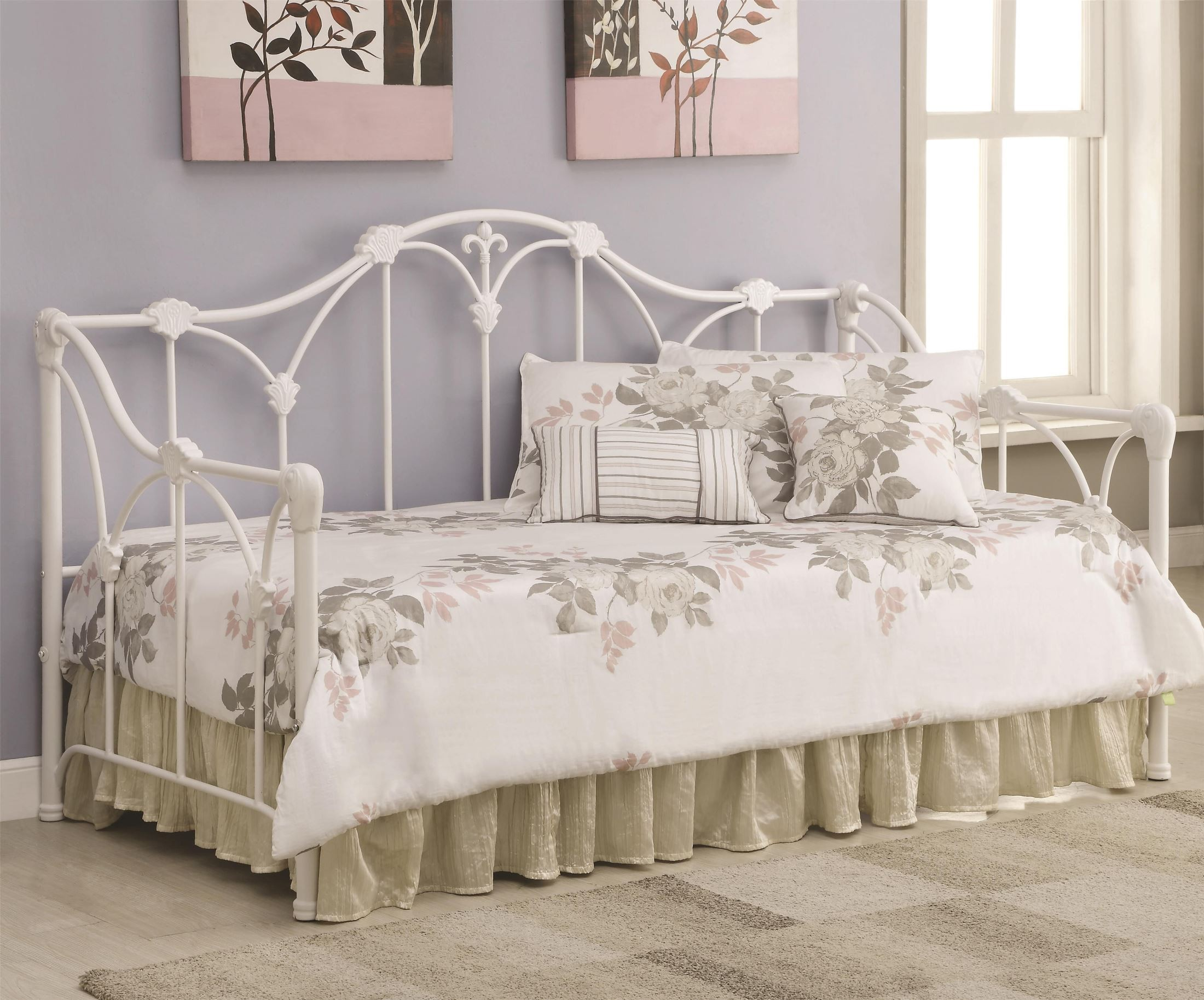 300216 Floral White Frame Daybed From Coaster 300216