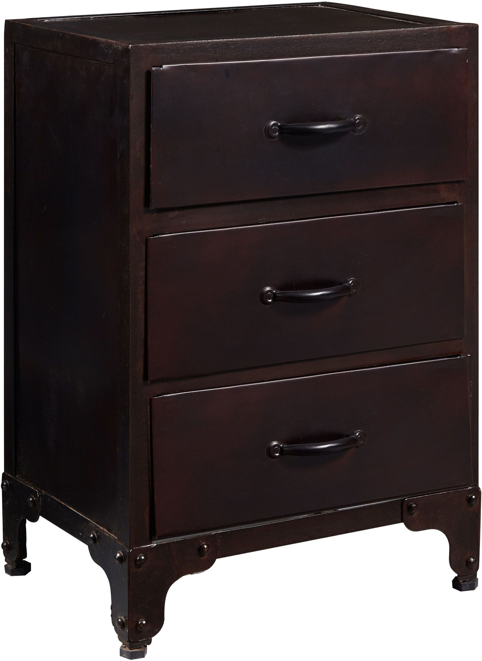 Iron Three Drawer Chairside Chest From Pulaski Coleman
