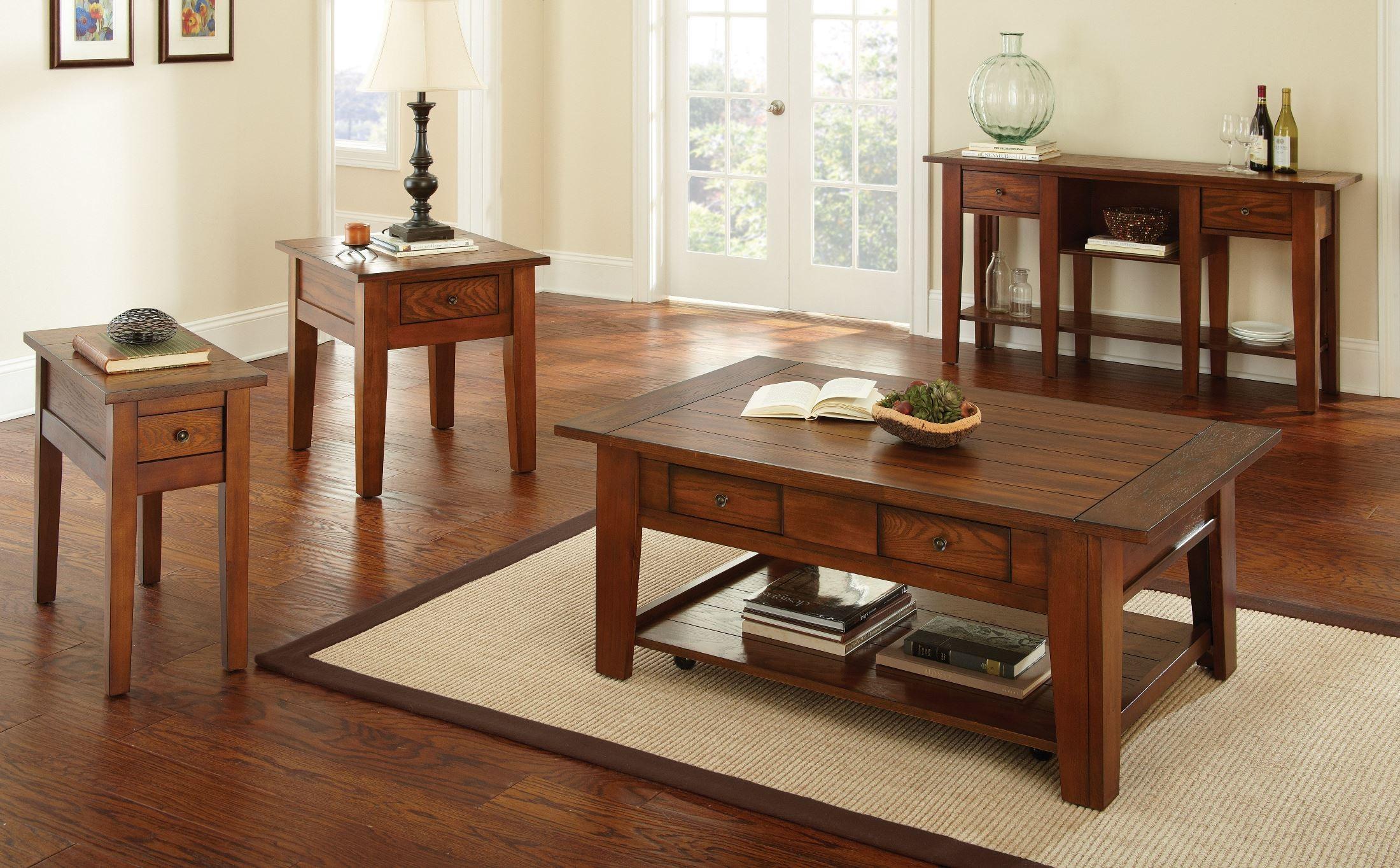 Desoto Medium Red Oak Sofa Table From Steve Silver De200s