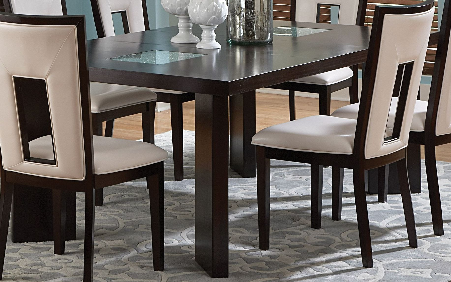 delano espresso cherry extendable rectangular dining table from steve silver de600t coleman. Black Bedroom Furniture Sets. Home Design Ideas