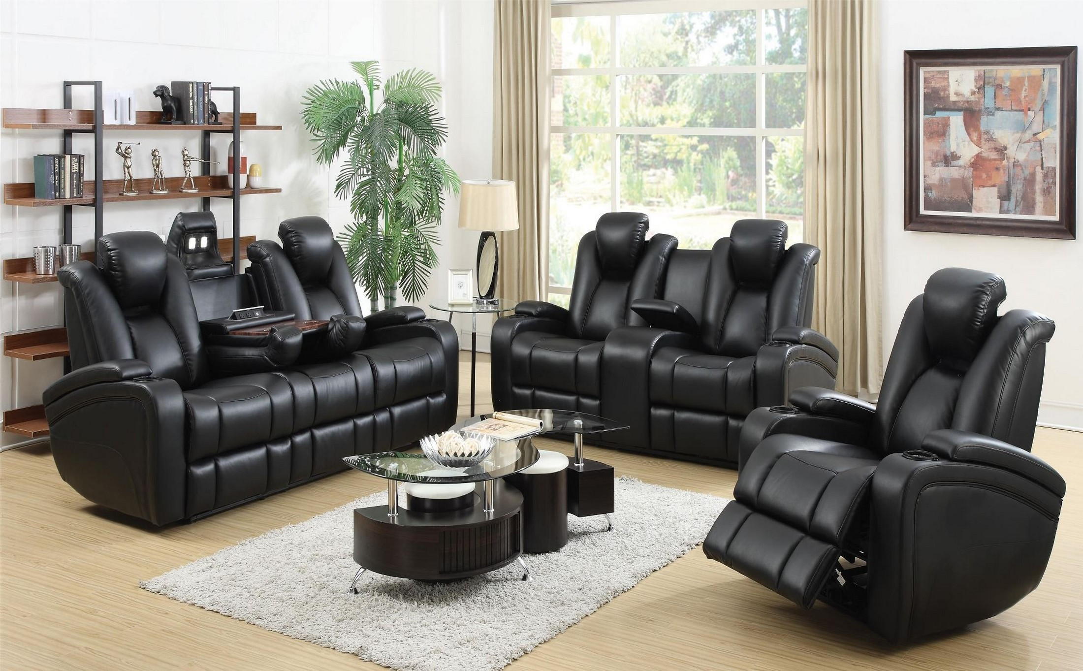 Delange power reclining living room set from coaster 601741p coleman furniture for Living room with two recliners
