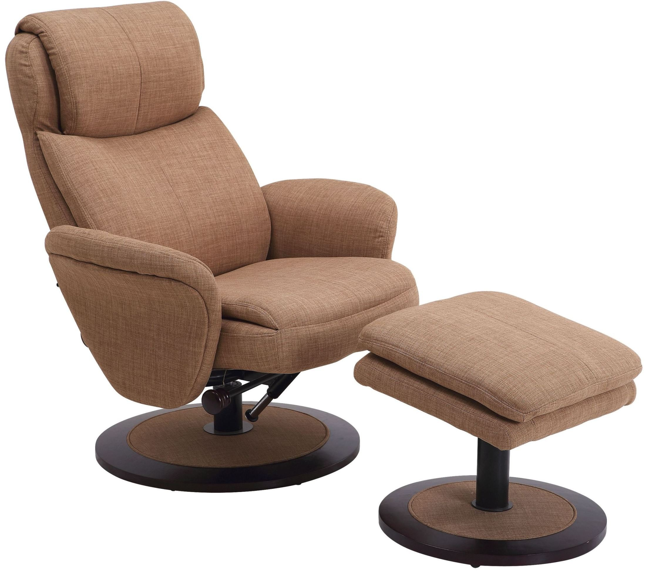 Denmark taupe fabric swivel recliner with ottoman from mac for Chair with ottoman