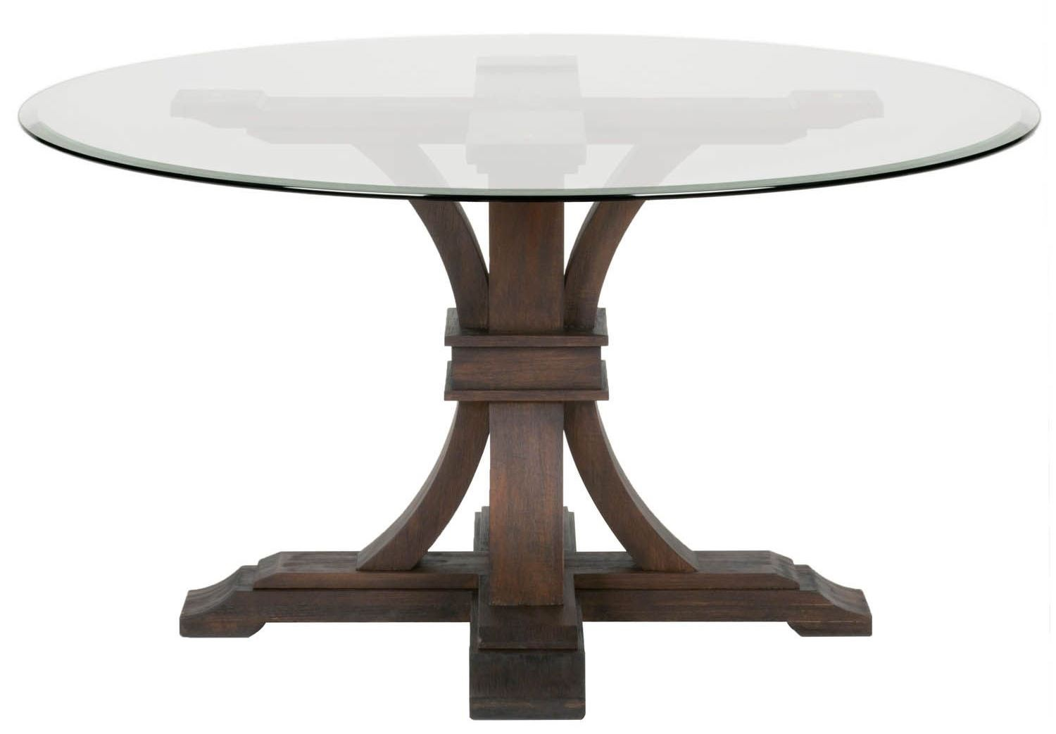 """54 54 Glass Table Top: Traditions Rustic Java Devon 54"""" Round Glass Dining Table"""