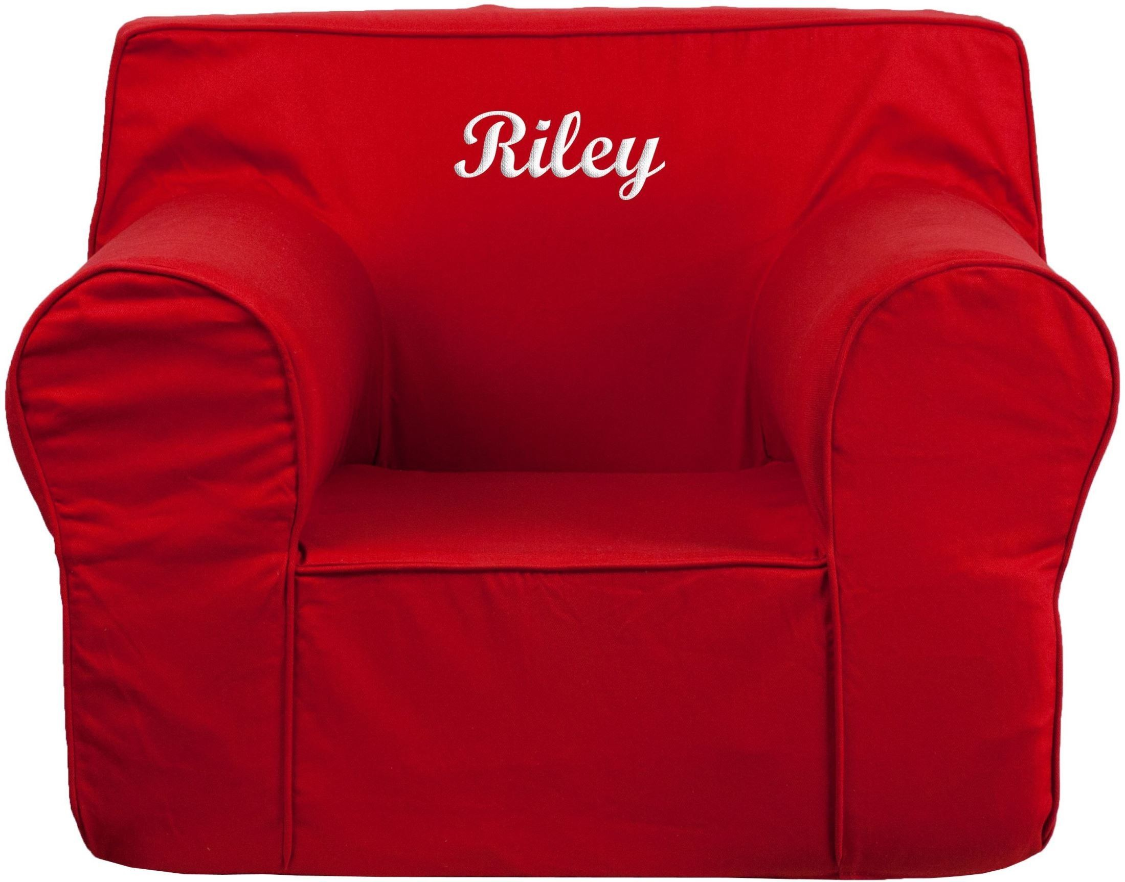Personalized oversized solid red kids chair with for Oversized kids chair