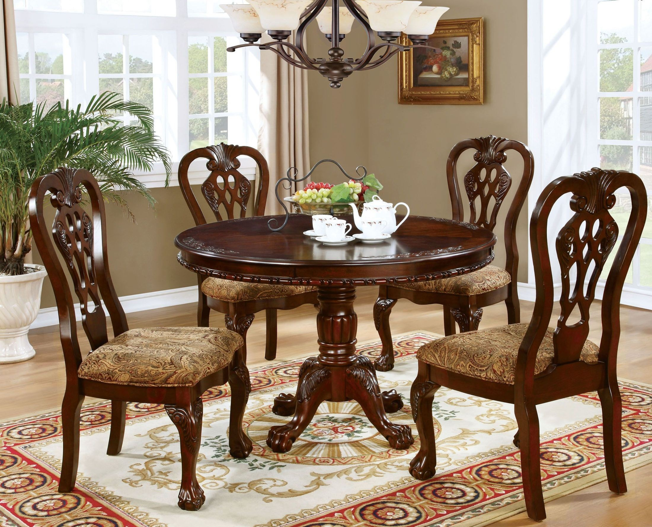 Elana Brown Cherry Dining Set From Furniture Of America