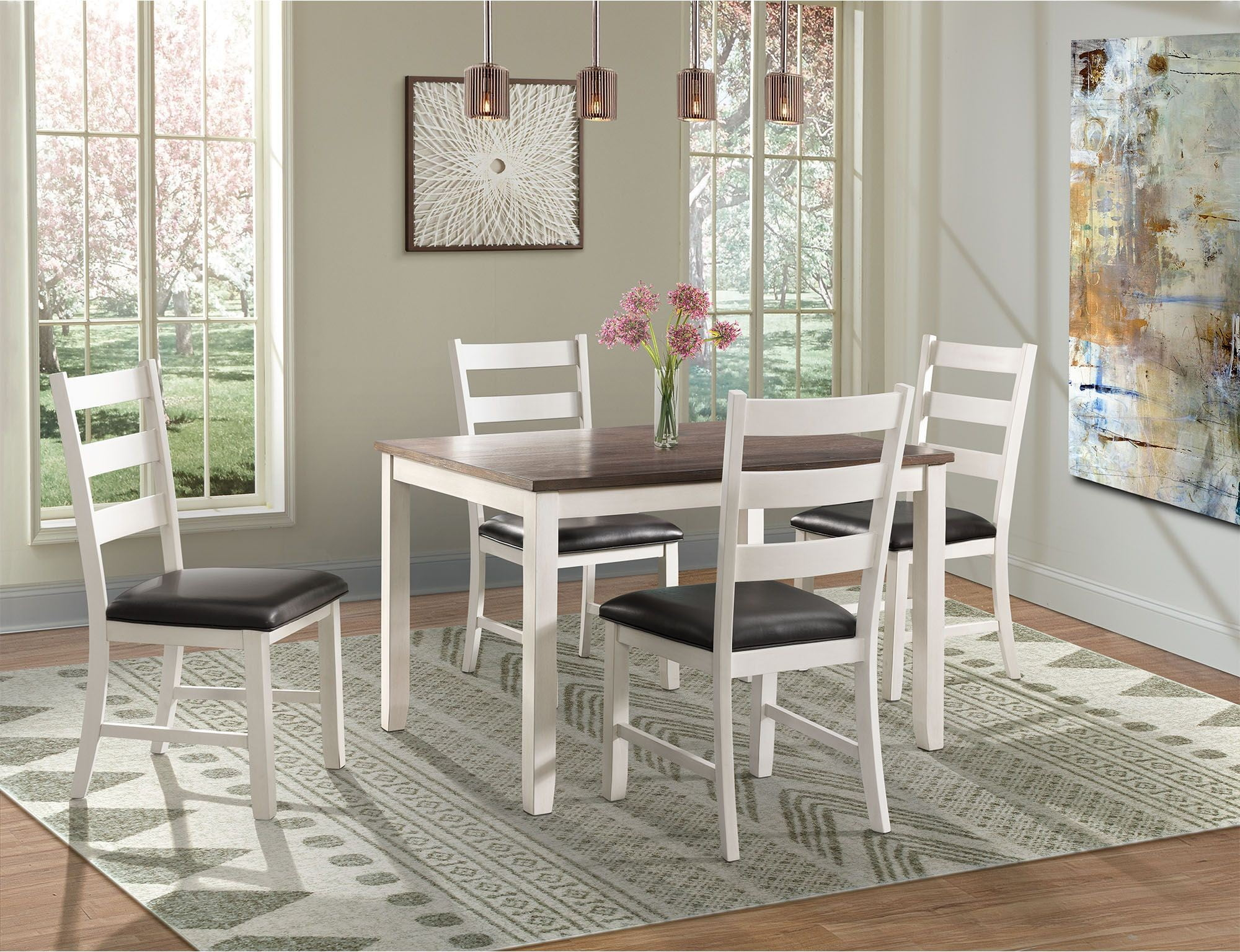 Kona Brown and White 5 Piece Dining Room Set from Elements ...