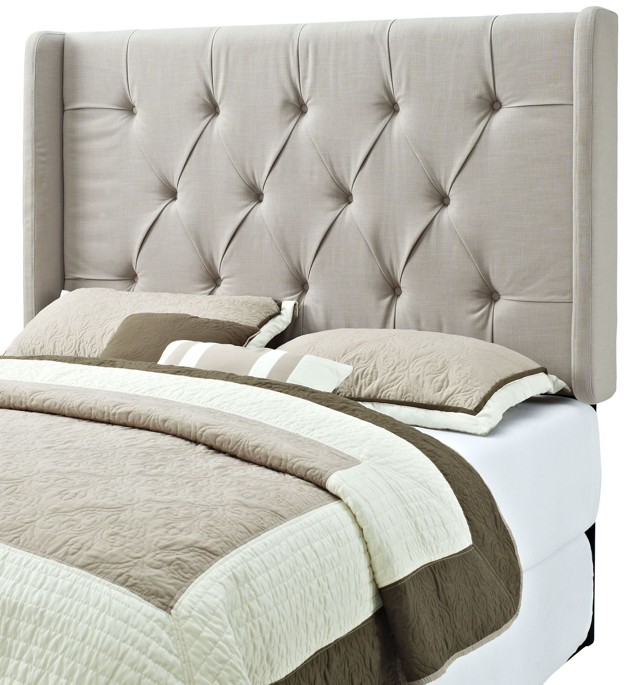 King And Cal King Tufted Panel Wings Headboard Ds 8634