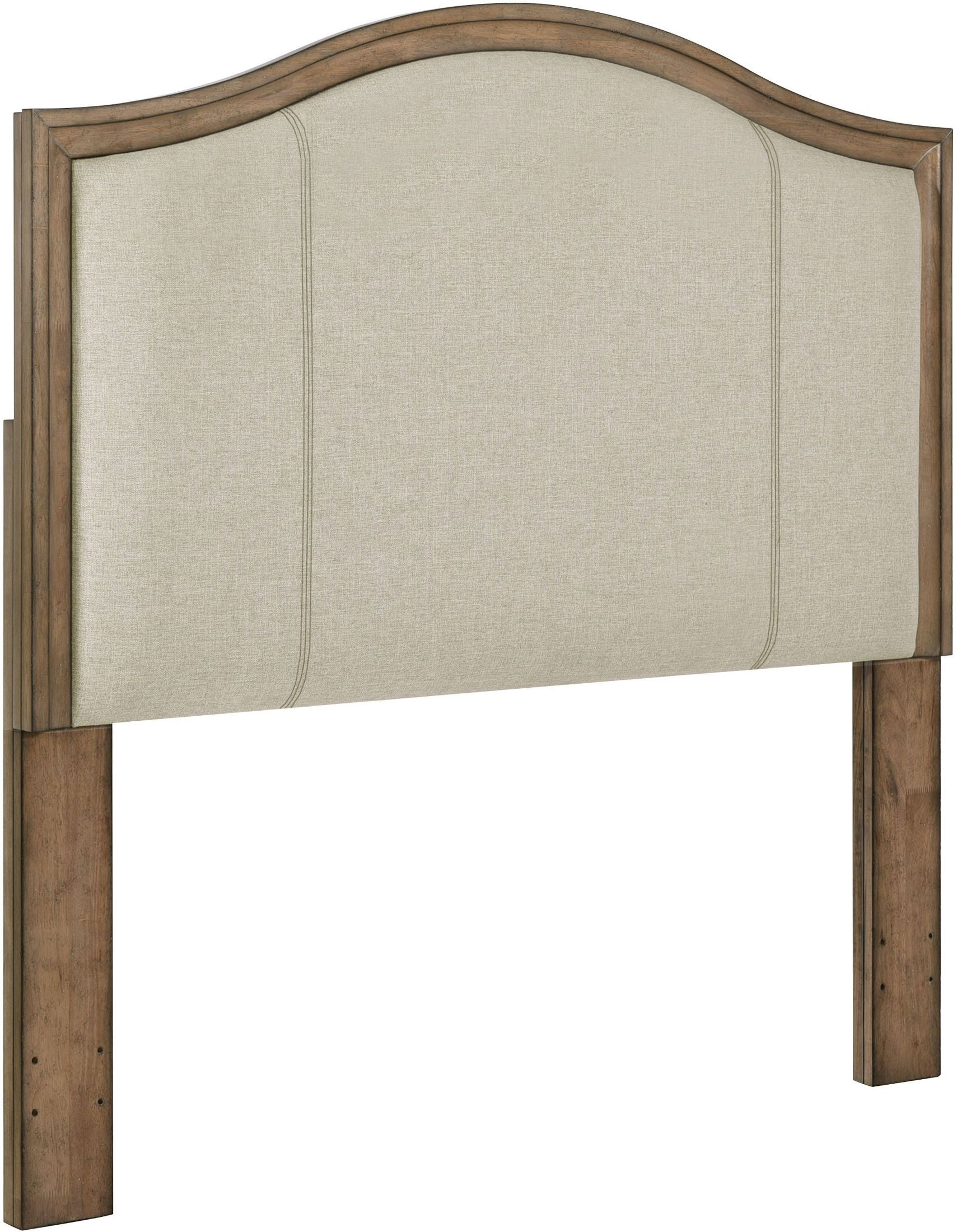 Camel Back Upholstered Panel Queen Wood Headboard From