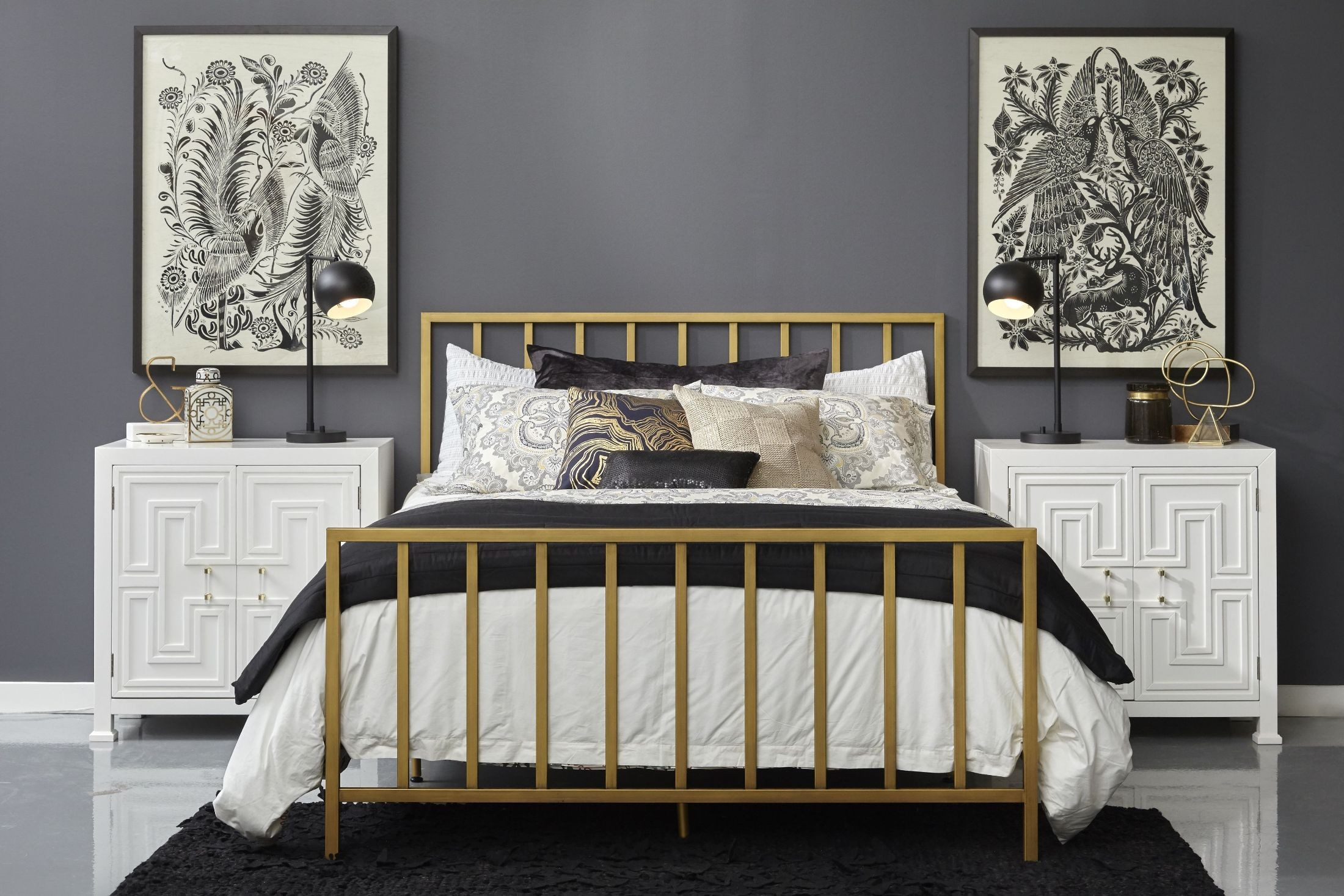 All In One Slat Style Brushed Gold Queen Metal Bed From