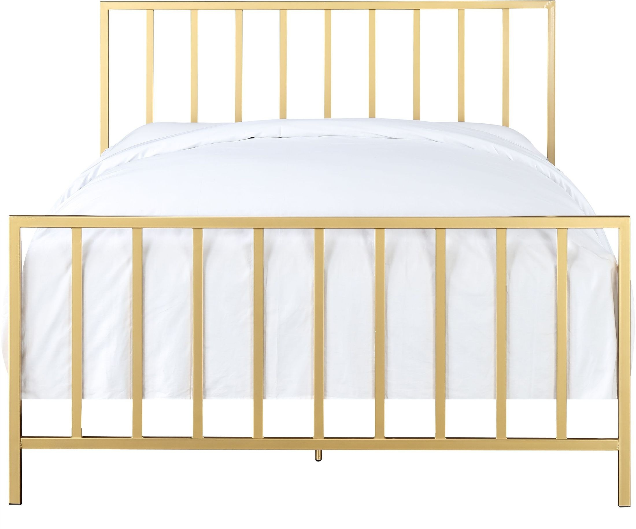 All-In-One Slat Style Brushed Gold Queen Metal Bed