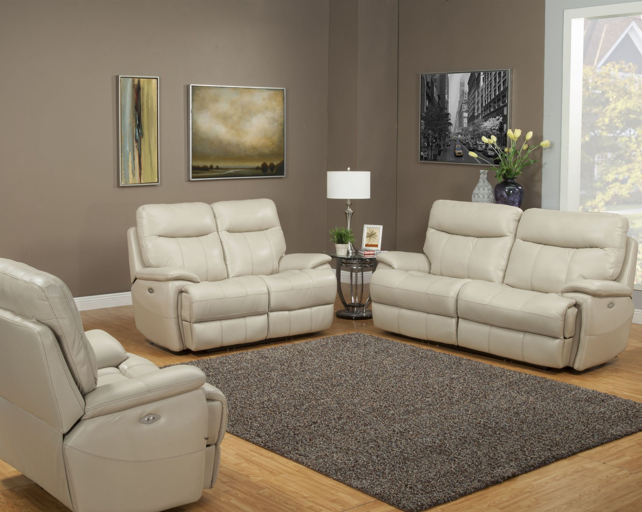 Dylan Creme Dual Power Reclining Living Room Set from Parker Living