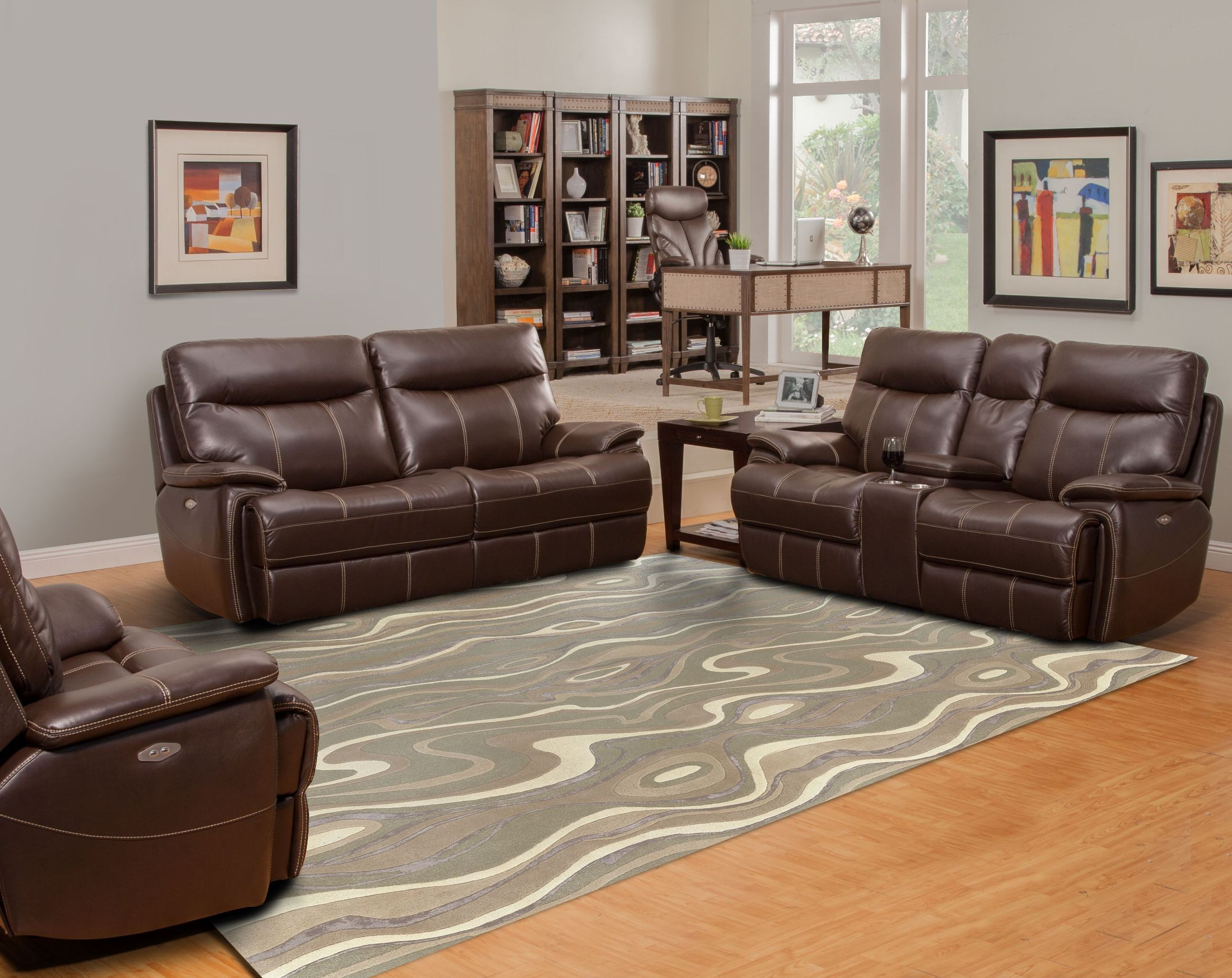 Dylan Mahogany Dual Power Reclining Living Room Set From