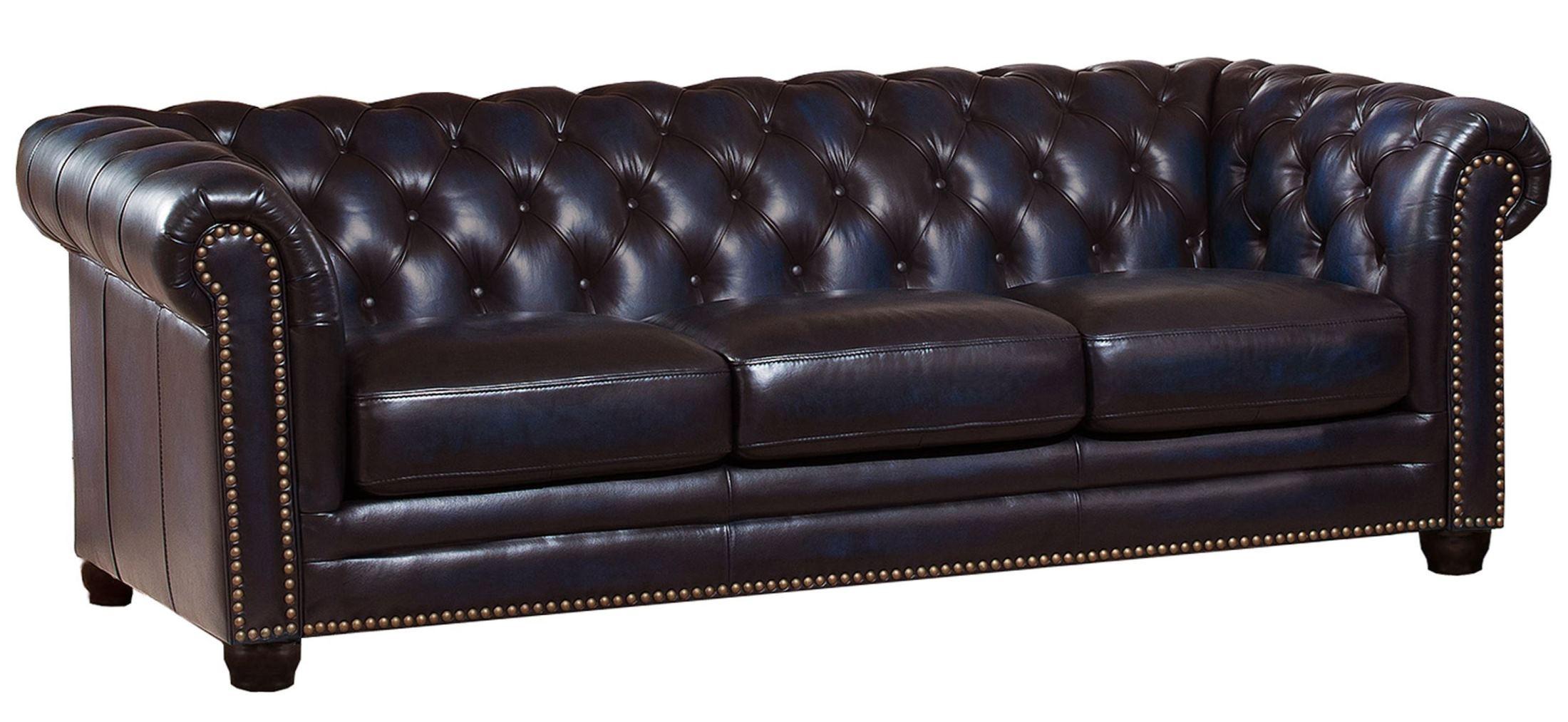 Dynasty Navy Blue Leather Sofa