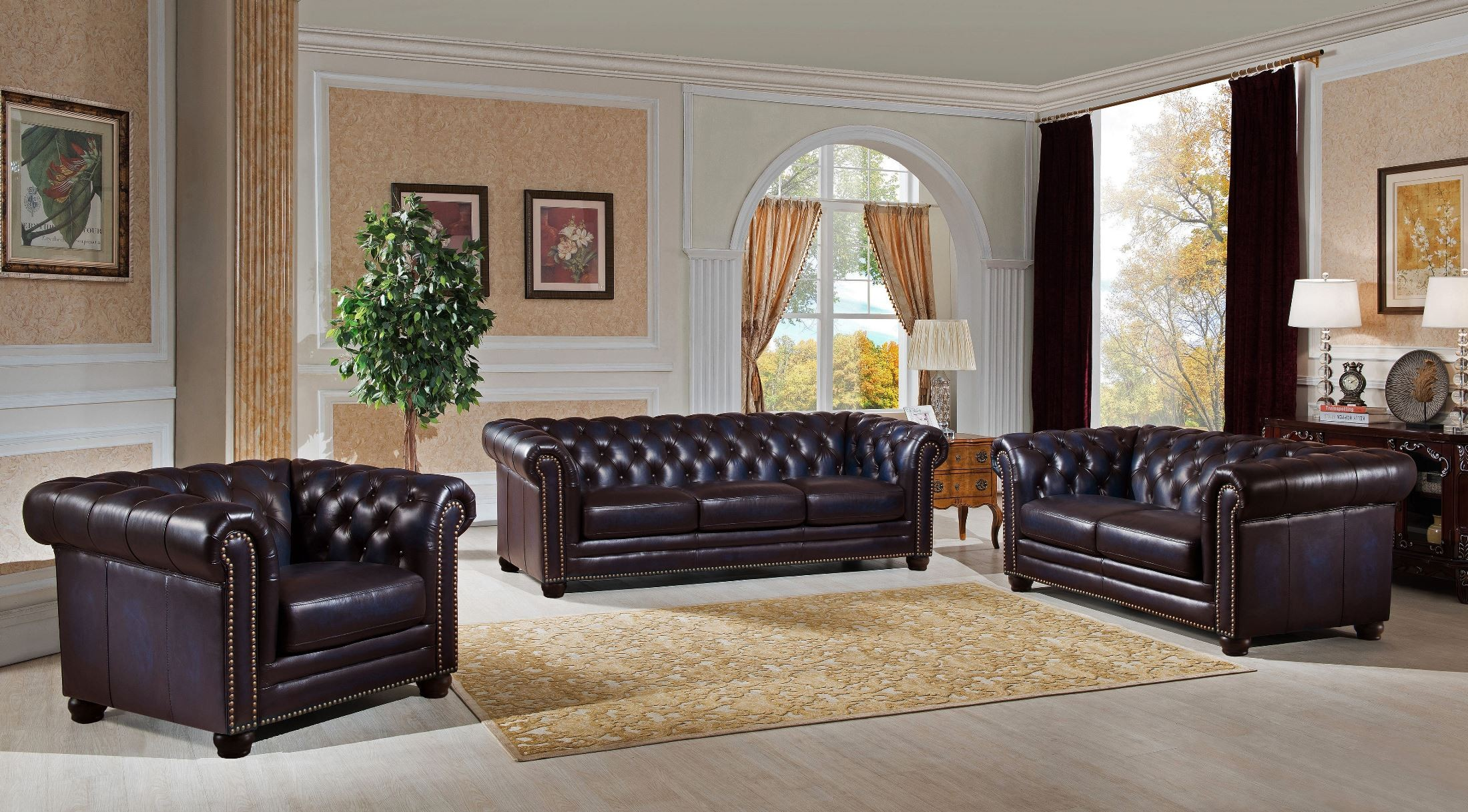 Dynasty Navy Blue Leather Living Room Set From Amax