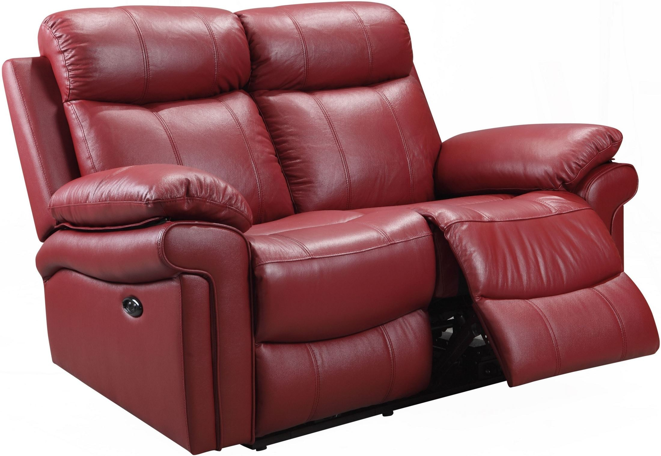 Shae Joplin Red Leather Power Reclining Loveseat From Luxe