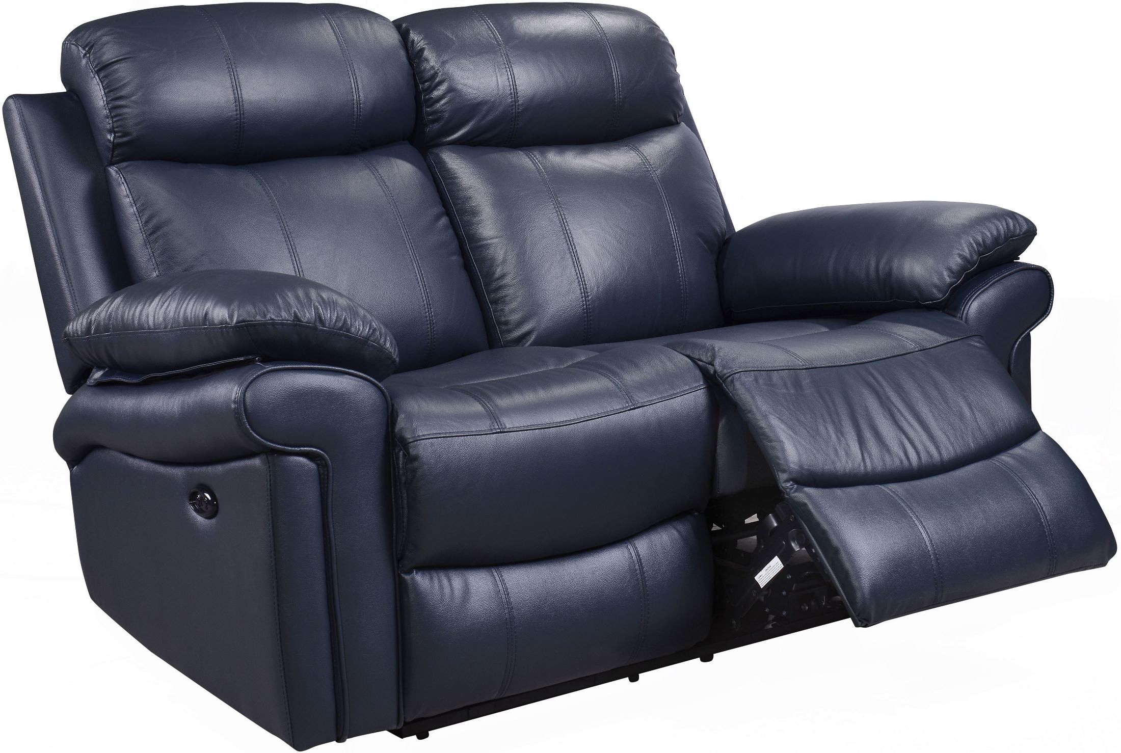 Shae Joplin Blue Leather Power Reclining Loveseat From