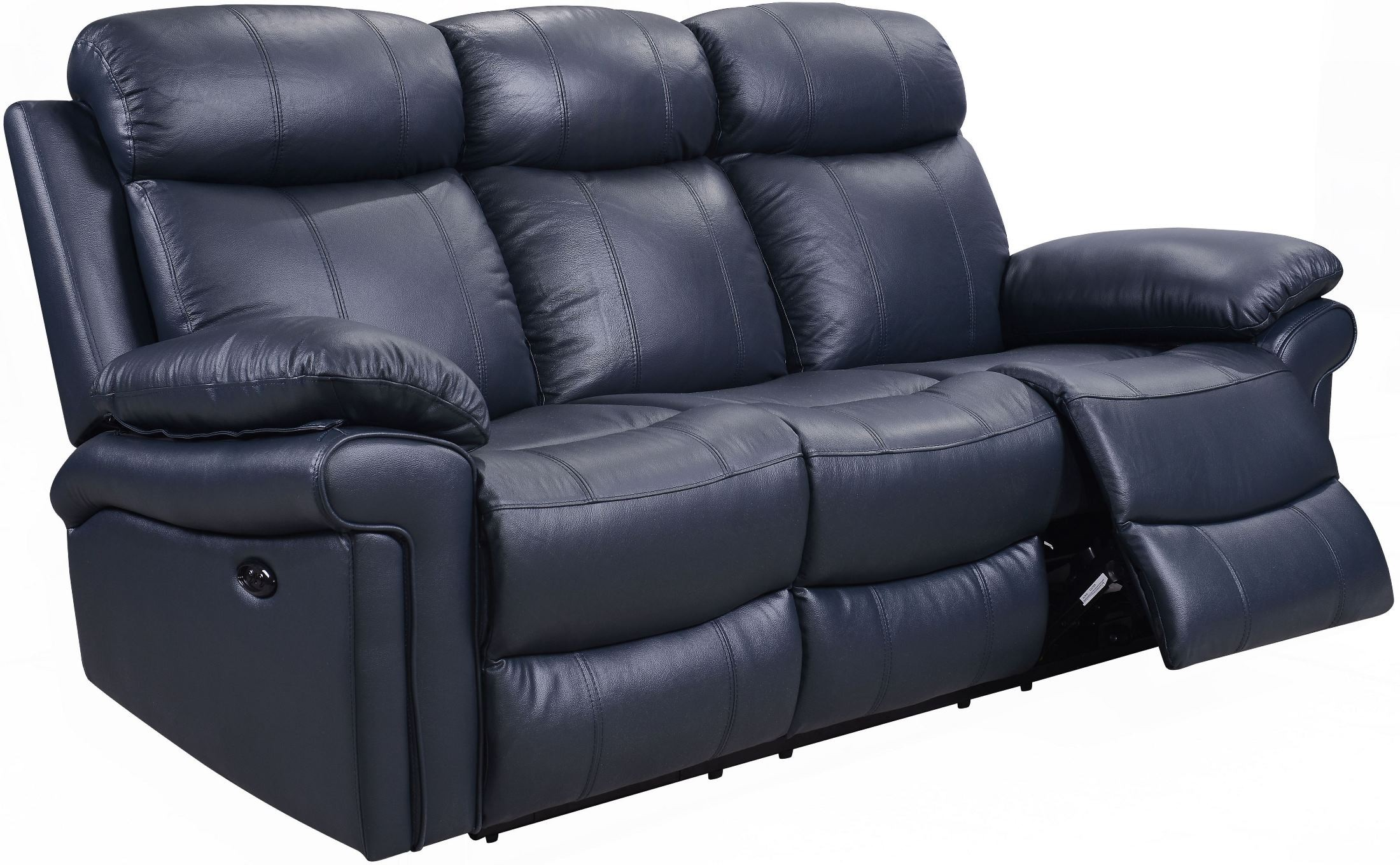 Shae Joplin Blue Leather Power Reclining Sofa from Luxe Leather