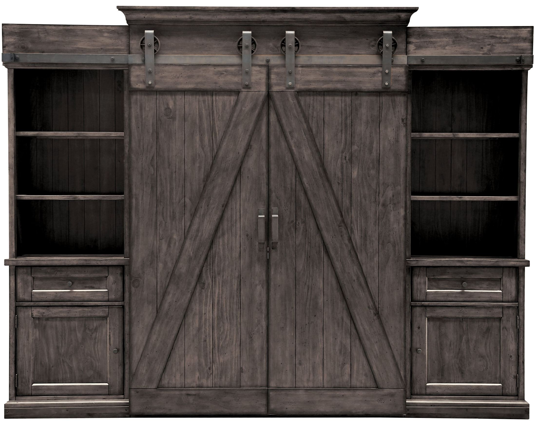 Garrett Distressed Charcoal Entertainment Wall Unit From Magnussen Home |  Coleman Furniture