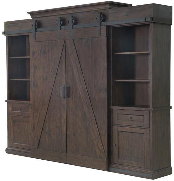 Fraser Warm Rustic Pine Wood Entertainment Wall Unit From