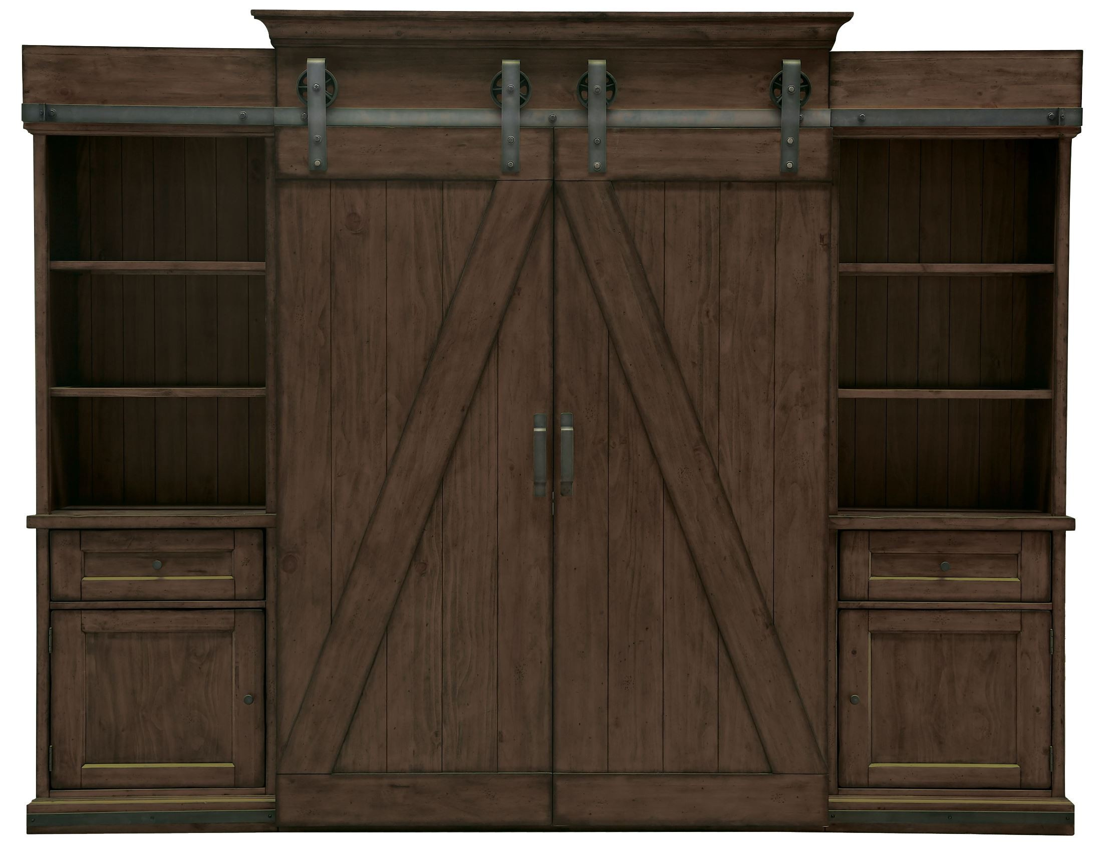 Wood Wall Unit Fraser Warm Rustic Pine Wood Entertainment Wall Unit From