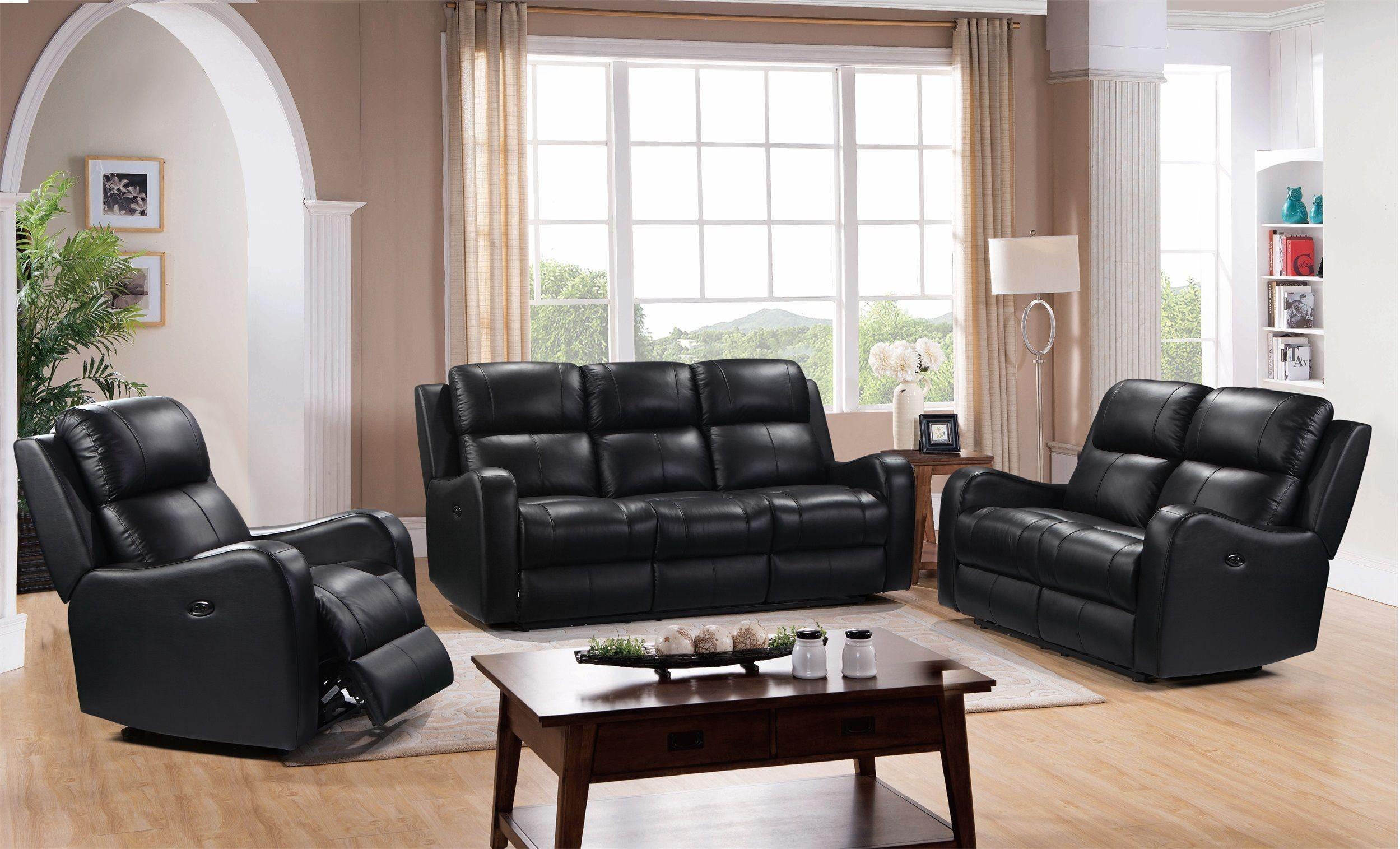 terrific black leather living room set   Shae Cortana Black Leather Power Reclining Living Room Set ...