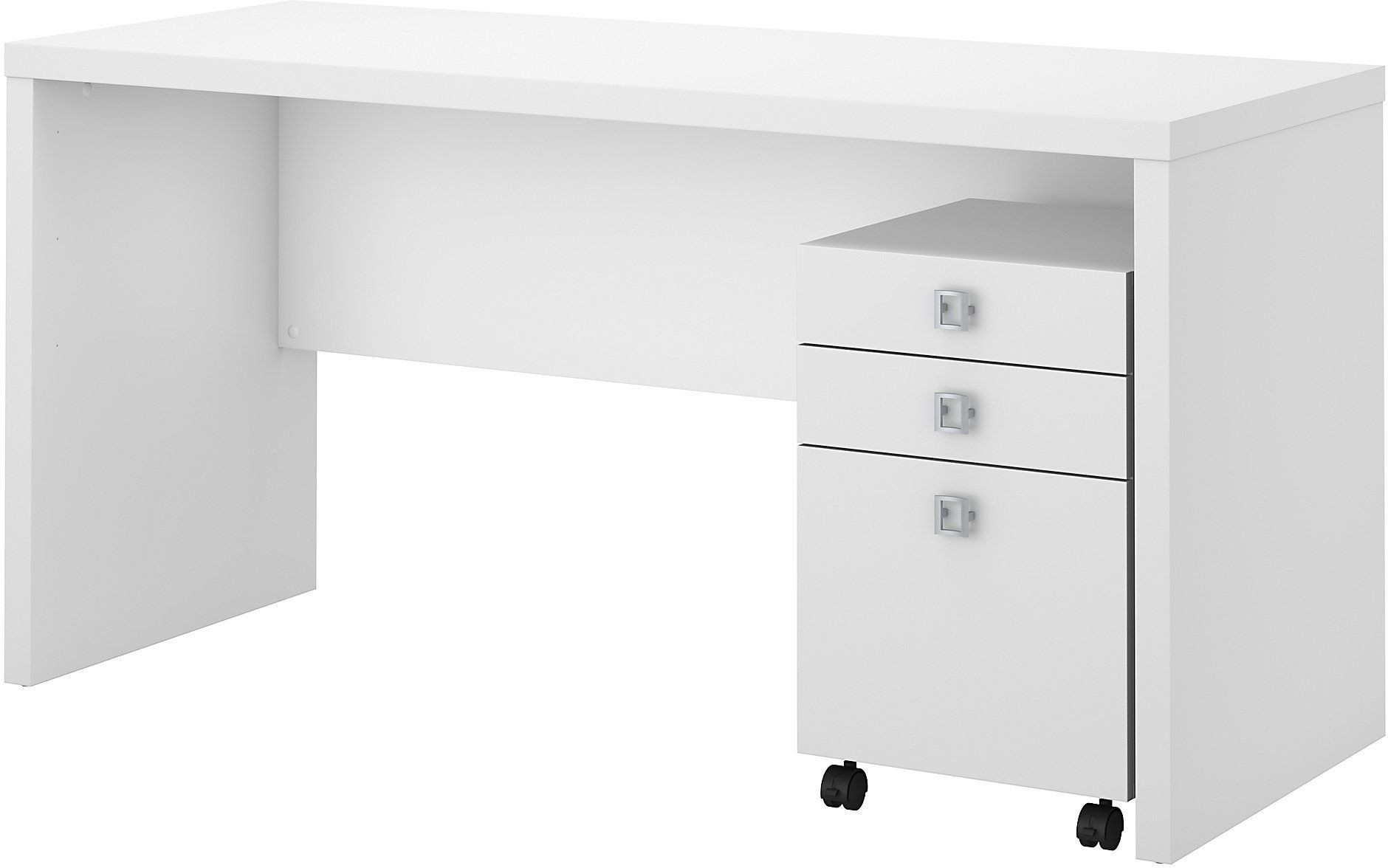 Echo pure white credenza desk with mobile file cabinet from kathy ireland by bush coleman - Mobile credenza ...