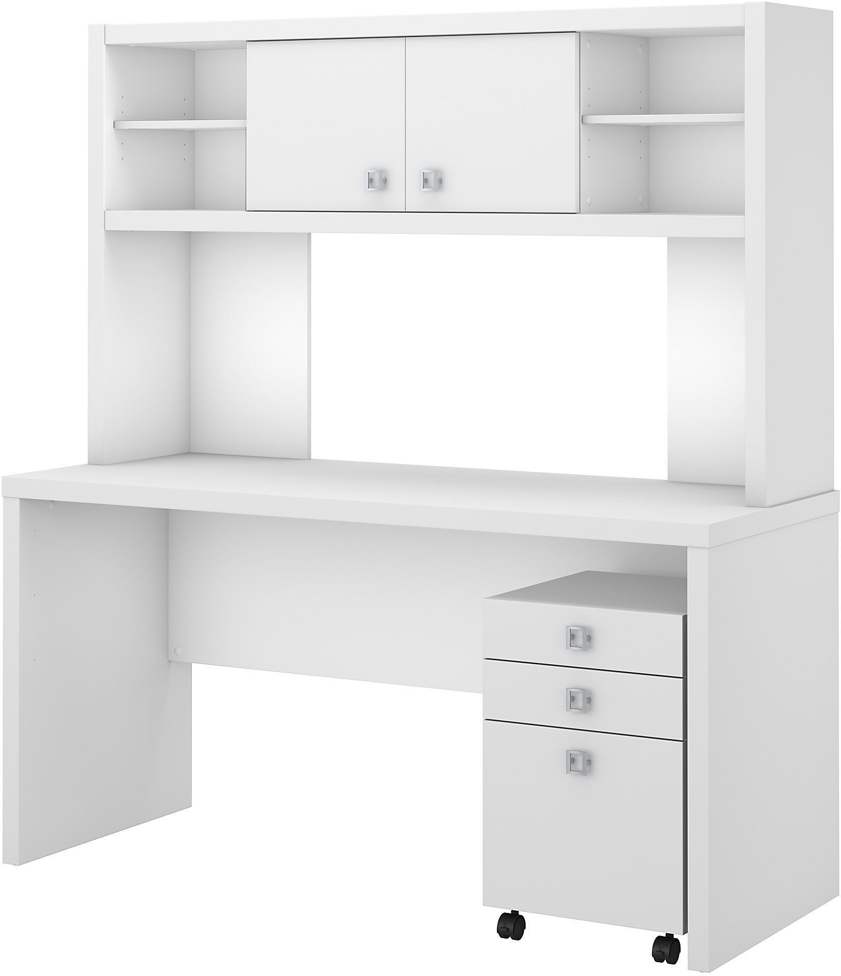 Echo pure white credenza desk with hutch and mobile file cabinet from kathy ireland by bush - Mobile credenza ...