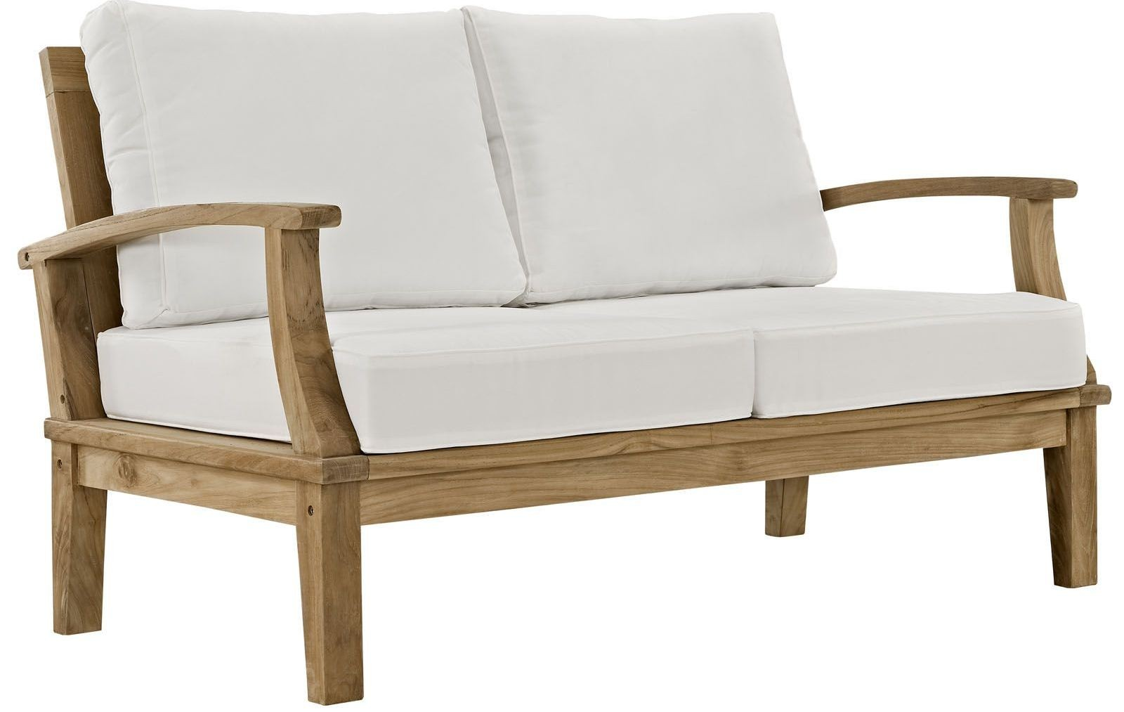 Marina Natural White Outdoor Patio Teak Loveseat From Renegade Eei 1144 Coleman Furniture