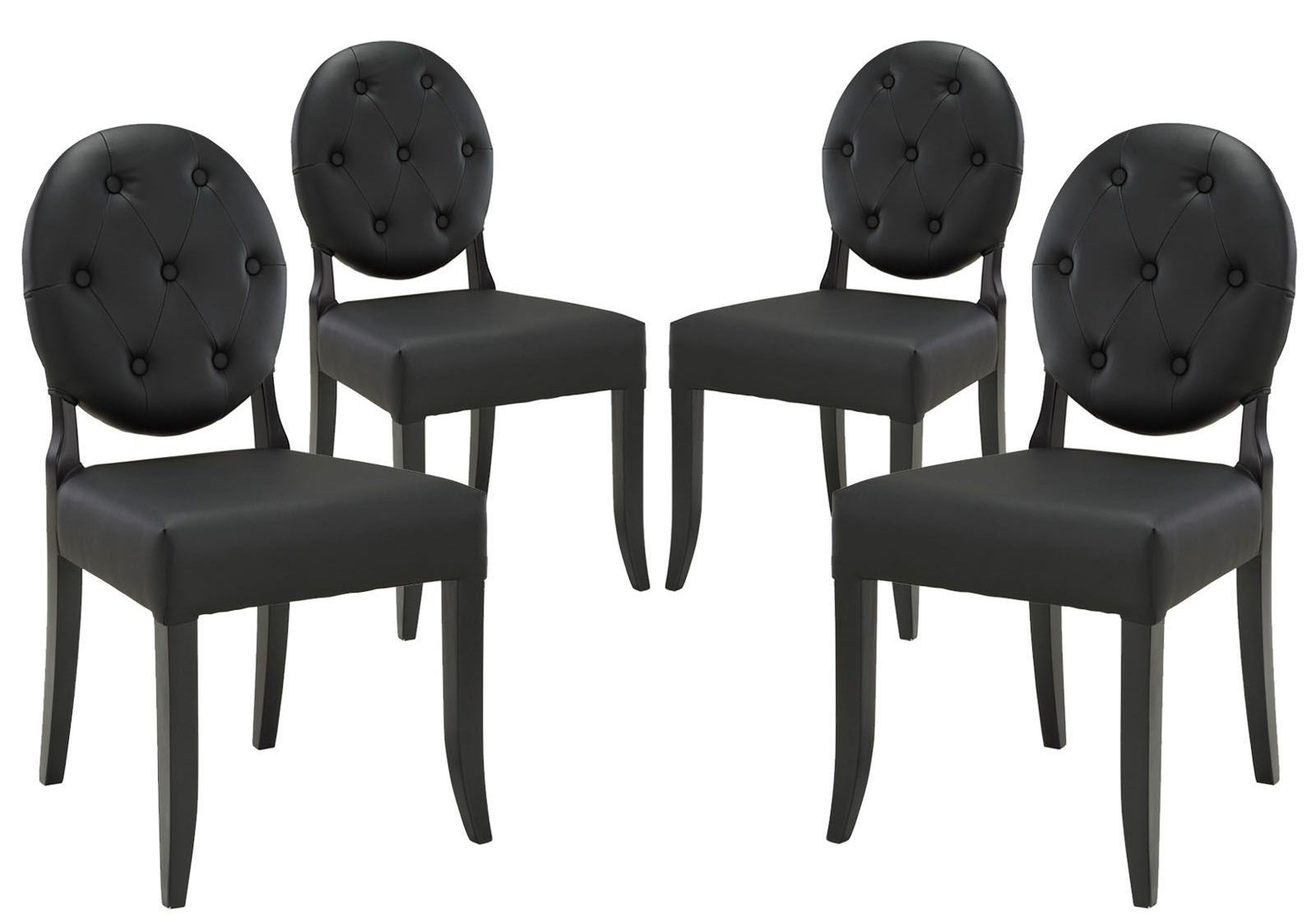 Button black dining side chair set of 4 from renegade eei for Black dining sets with 4 chairs